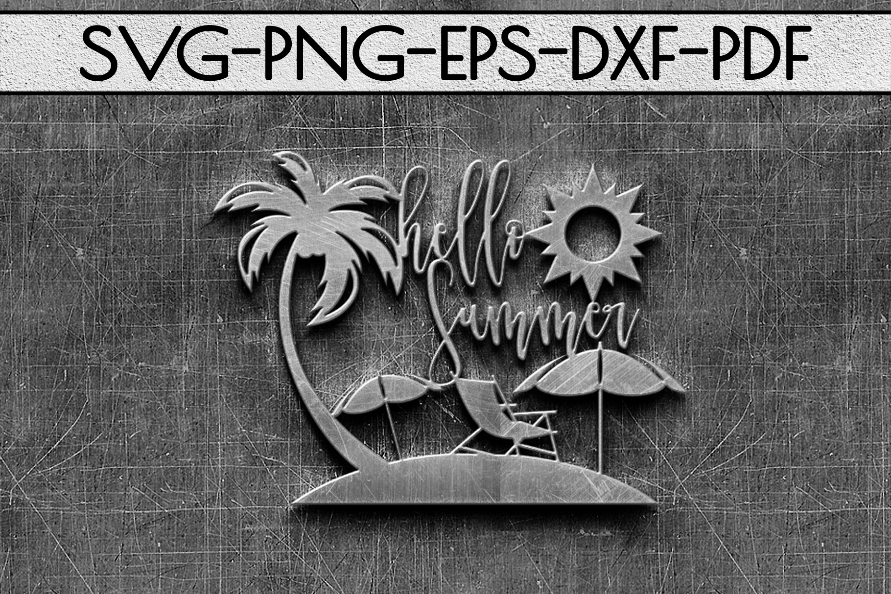 Hello Summer Papercut Template, Beach House Decor SVG, DXF example image 2