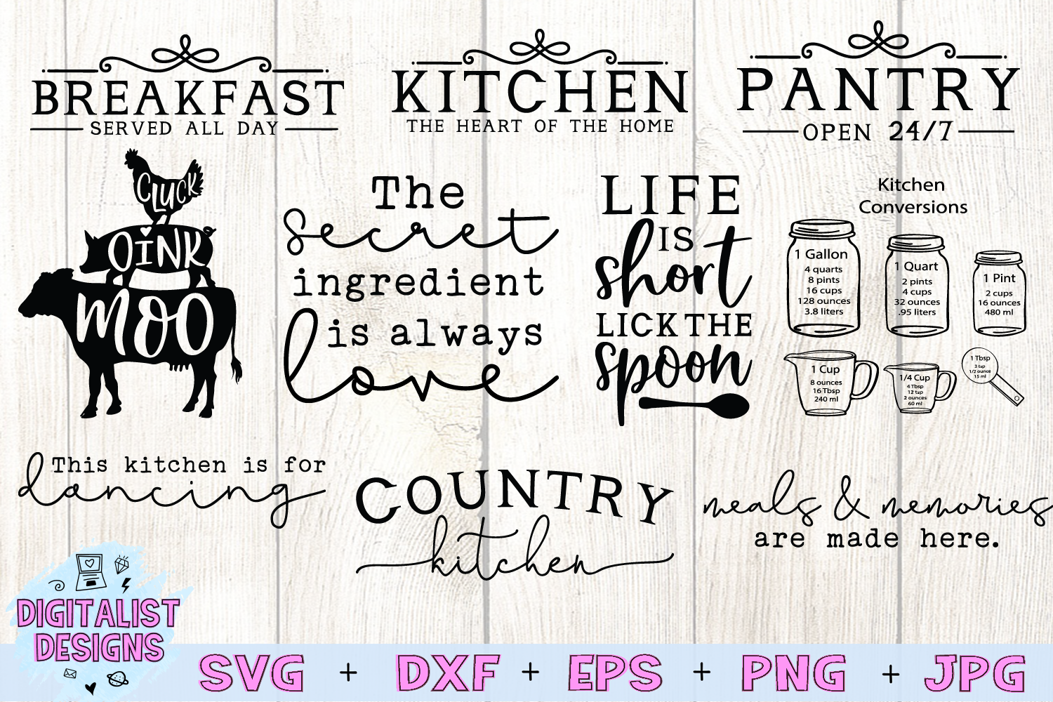 Kitchen Quotes SVG Bundle | 20 Farmhouse Sign SVGs example image 3