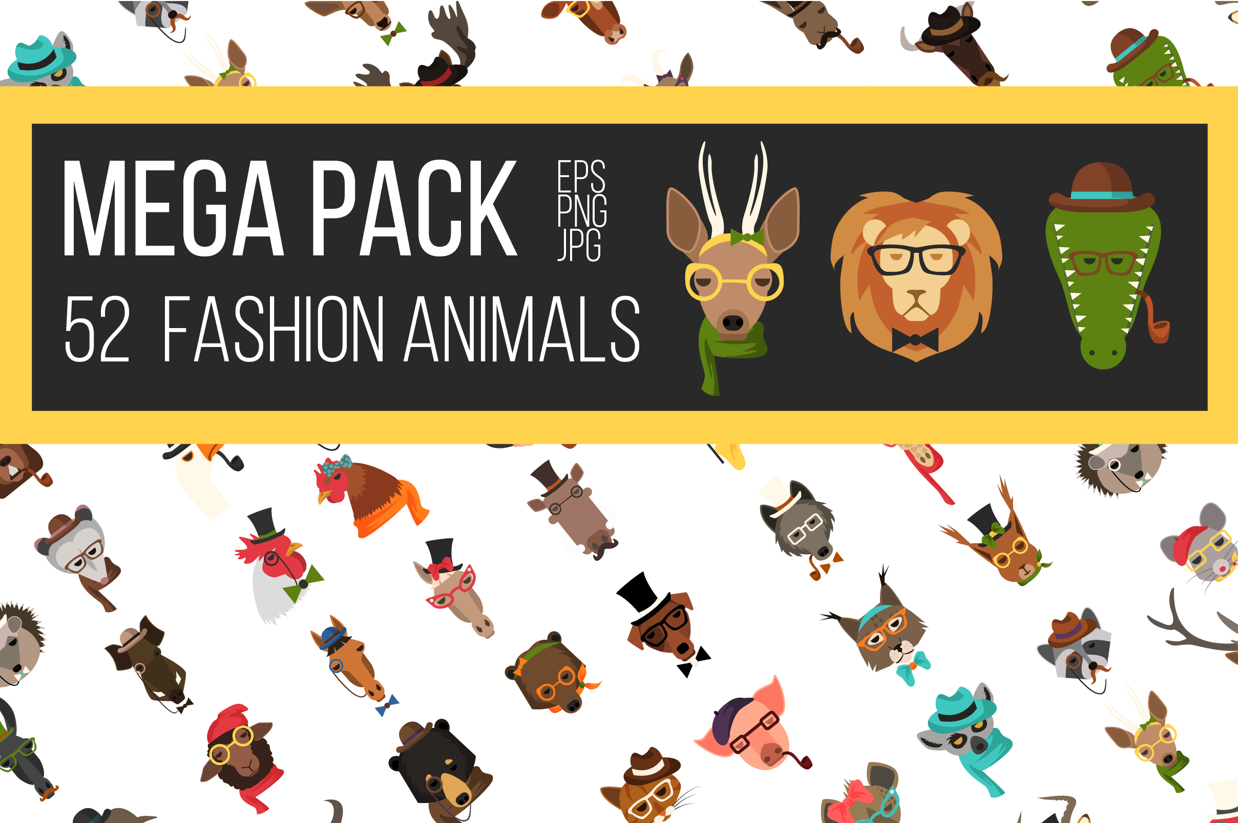 Vector Fashion Animal Icons Big Bundle 52  example image 1