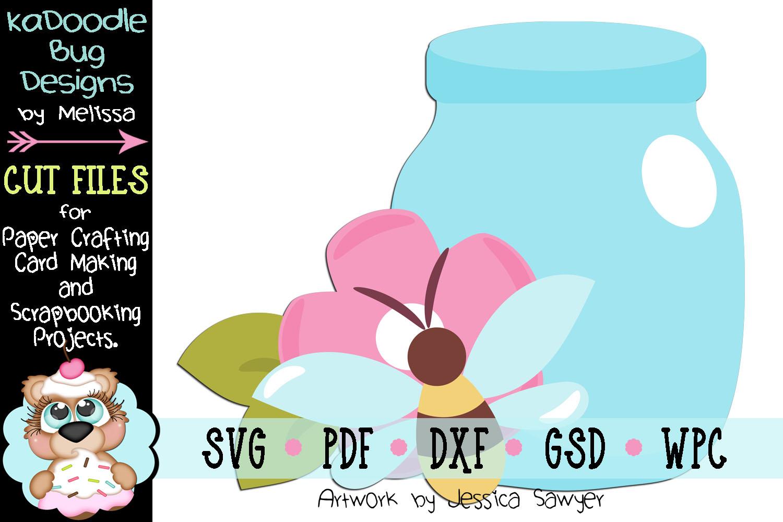Pretty Bee Mason Jar Cut File - SVG PDF DXF GSD WPC example image 1