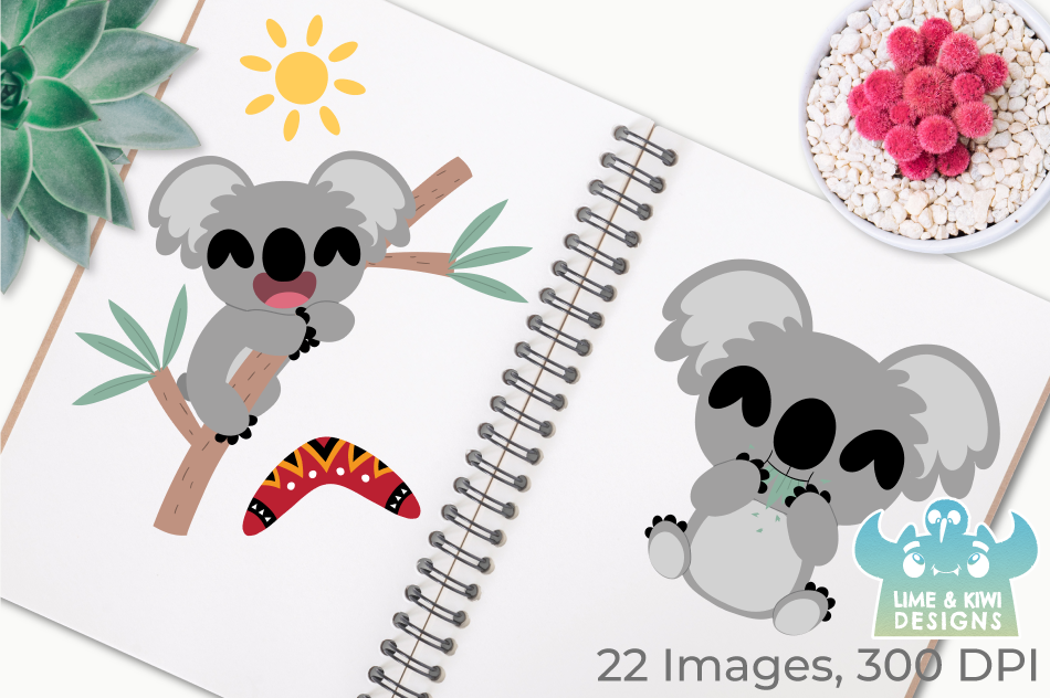 Koala Boys Clipart, Instant Download Vector Art example image 3