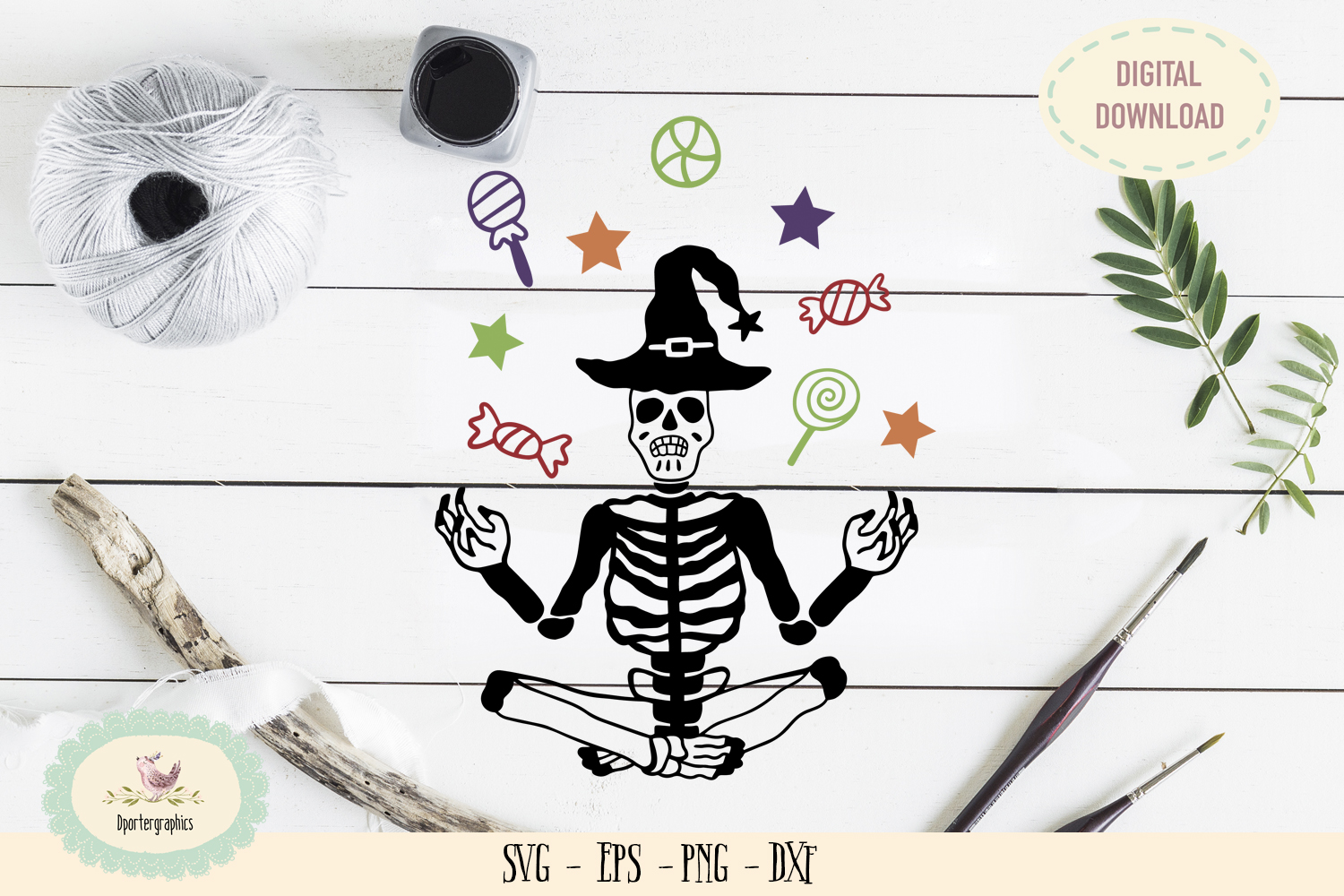 Candy halloween skeleton SVG PNG example image 1