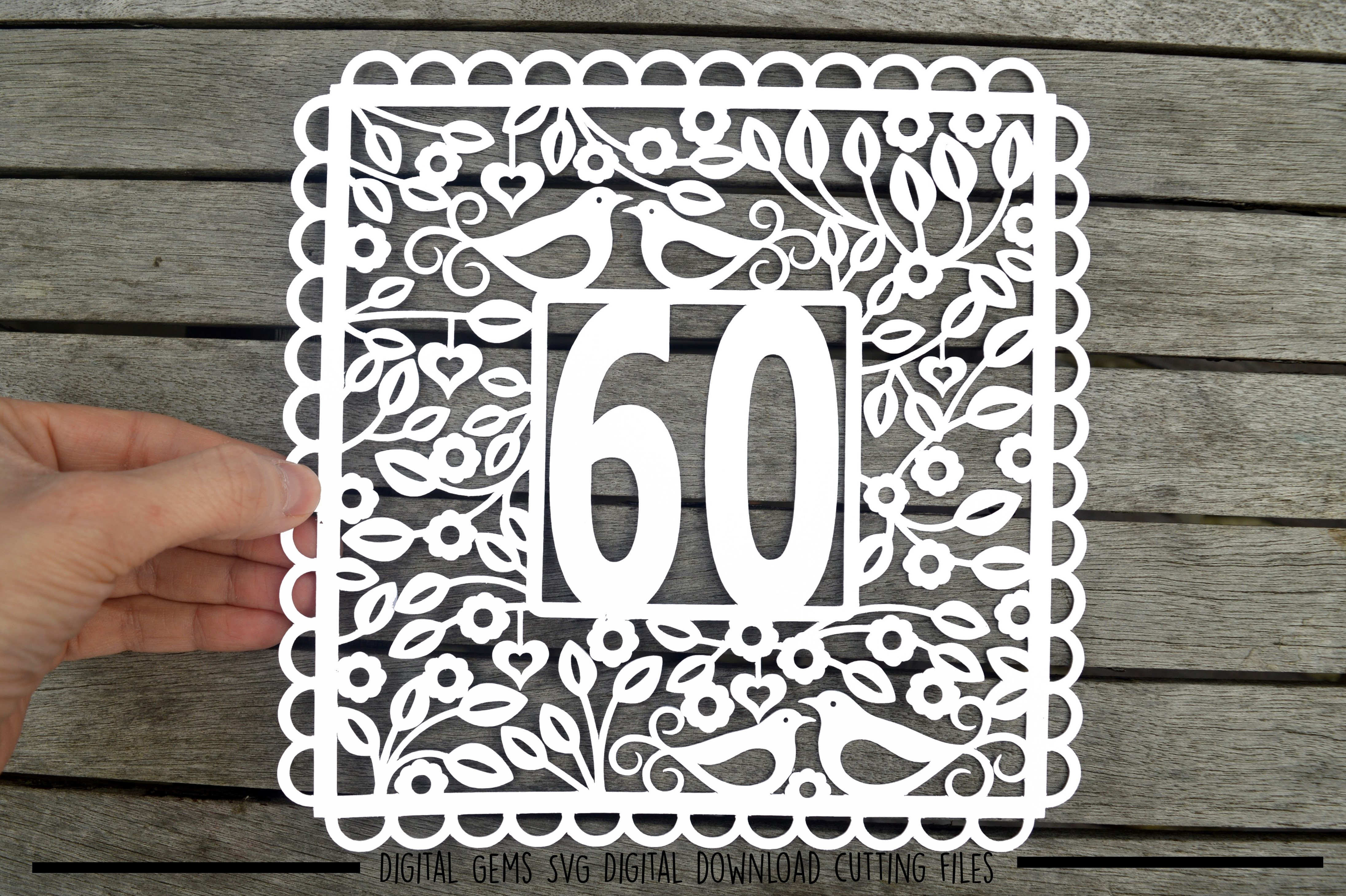 Number 60 paper cut SVG / DXF / EPS files example image 1
