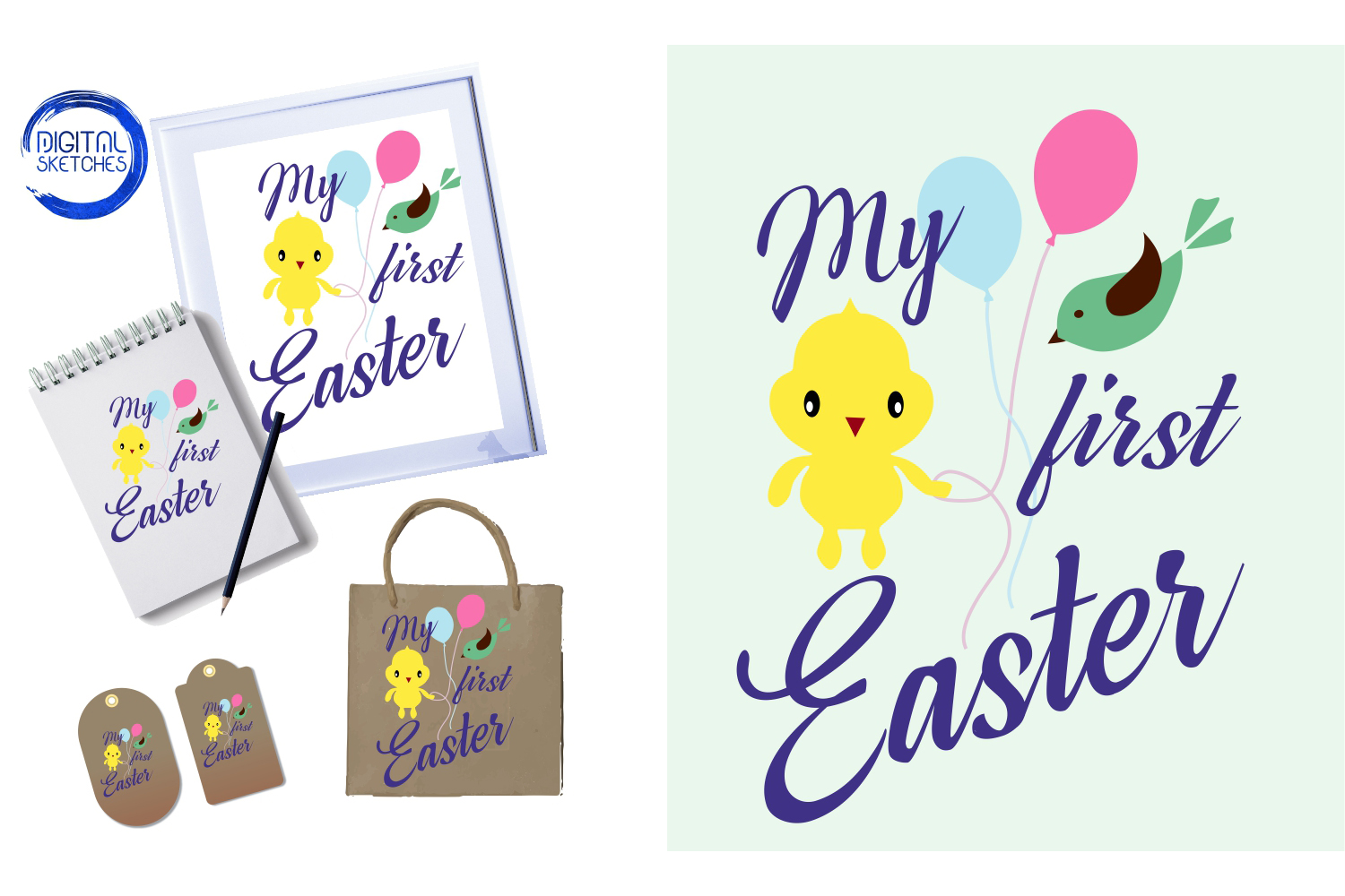 My First Easter Cut File Vector Graphics Illustration example image 1