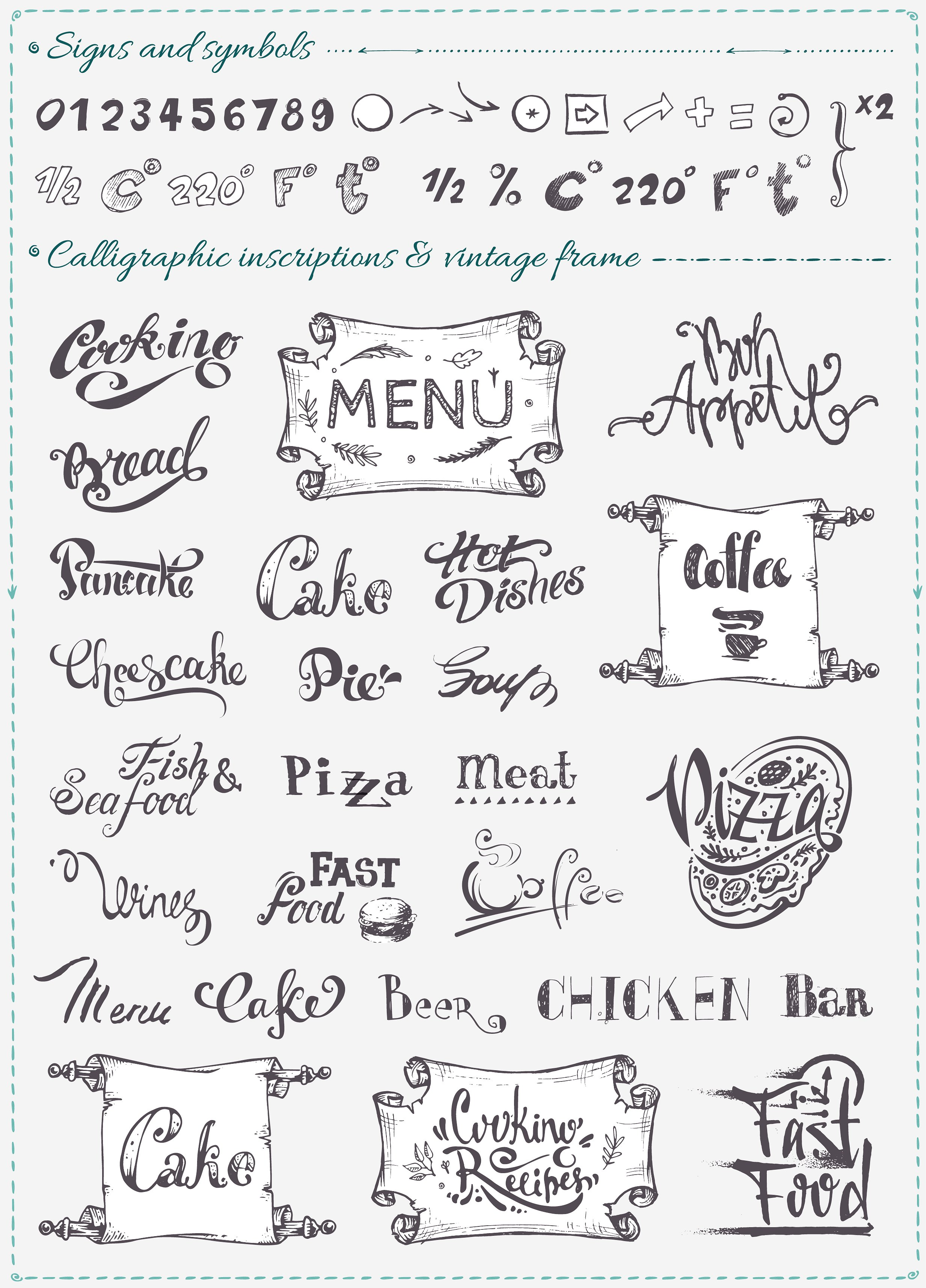 Hand drawn cooking and food icons example image 5