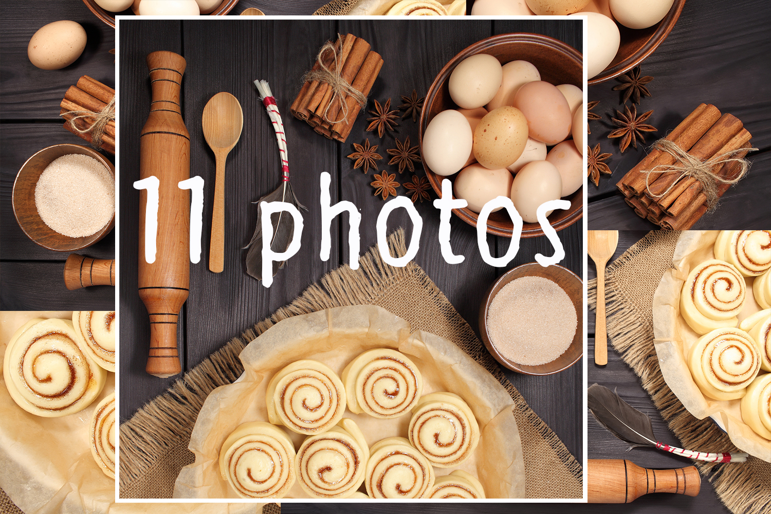 Set of 11 photos - raw buns: cinnamon rolls prepared for baking on a background of rustic table example image 1