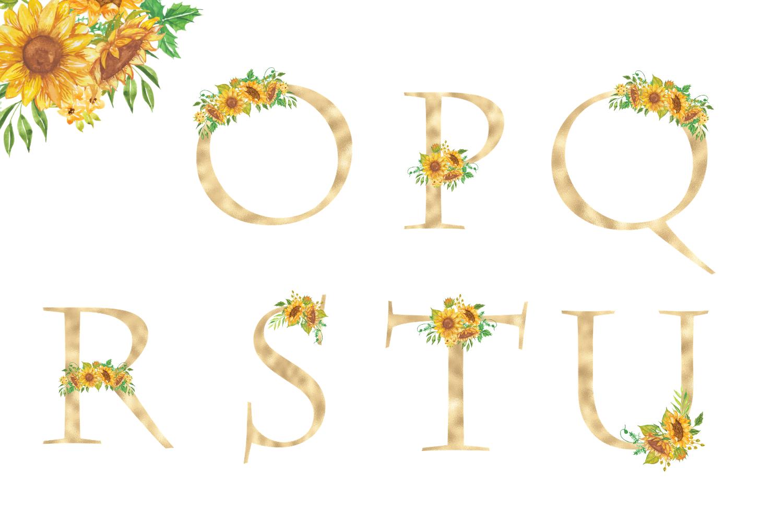Sunflowers Floral printable alphabet, Gold foil alphabet example image 4