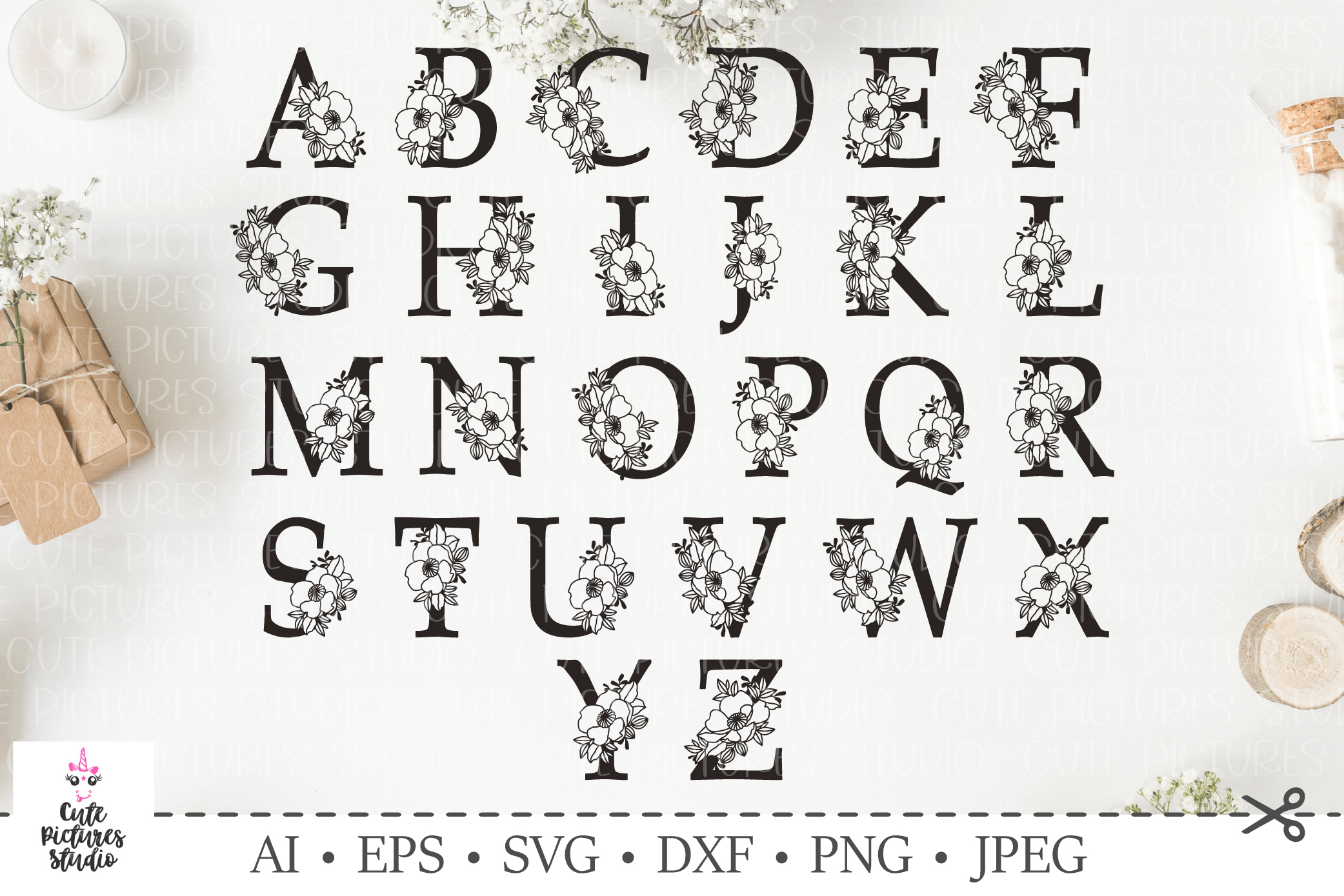 Botanical alphabet svg. Floral letter svg. Bundle SVG, DXF example image 1