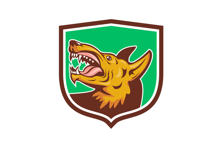Angry Wild Dog Fangs Side Shield Retro example image 1