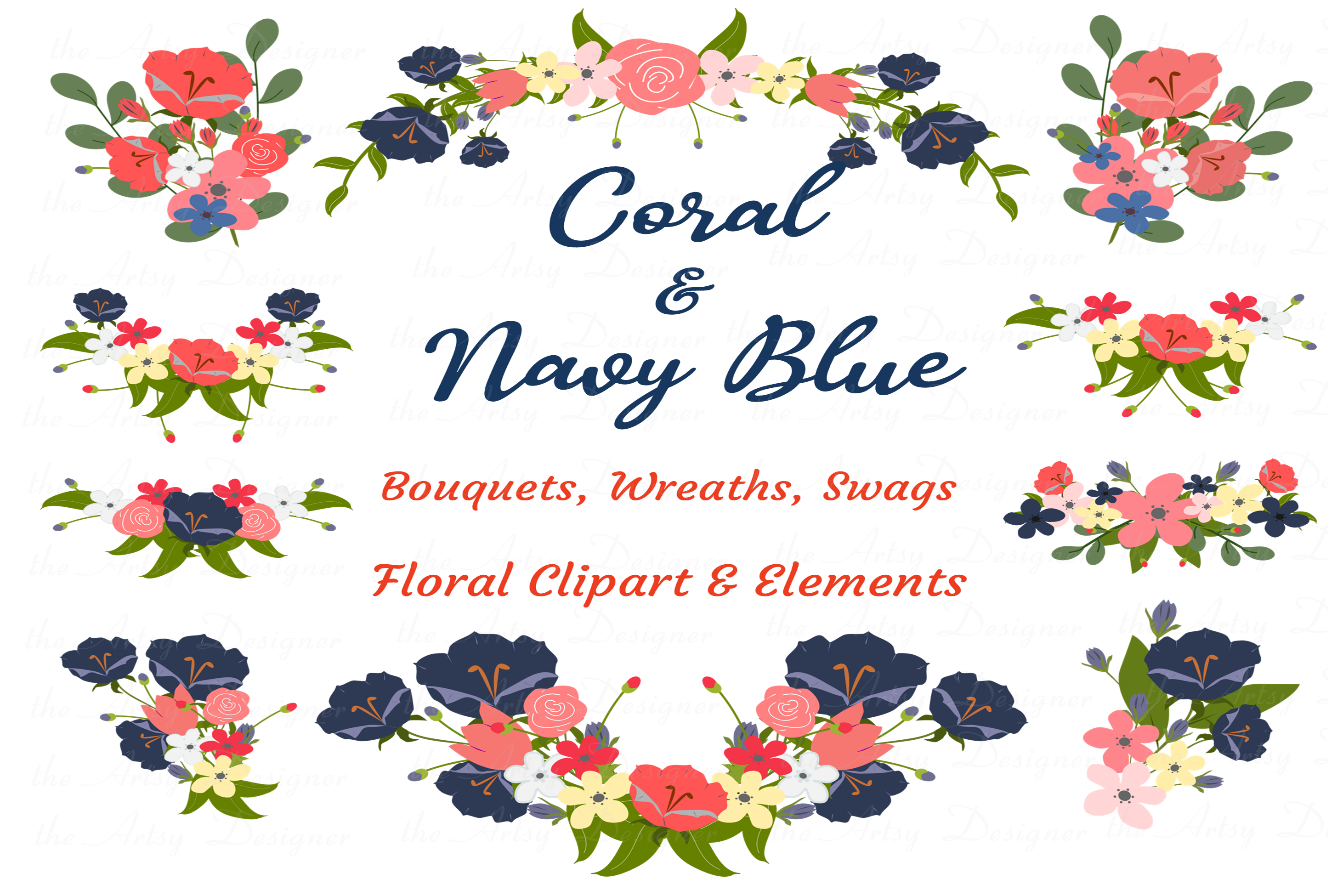 Navy Blue Coral Flowers Sublimation Clipart Bundle Wedding example image 1