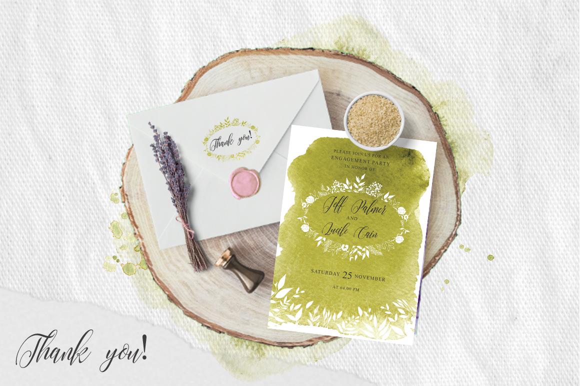 Greenery Watercolor Spring Wedding Invitation suite example image 5