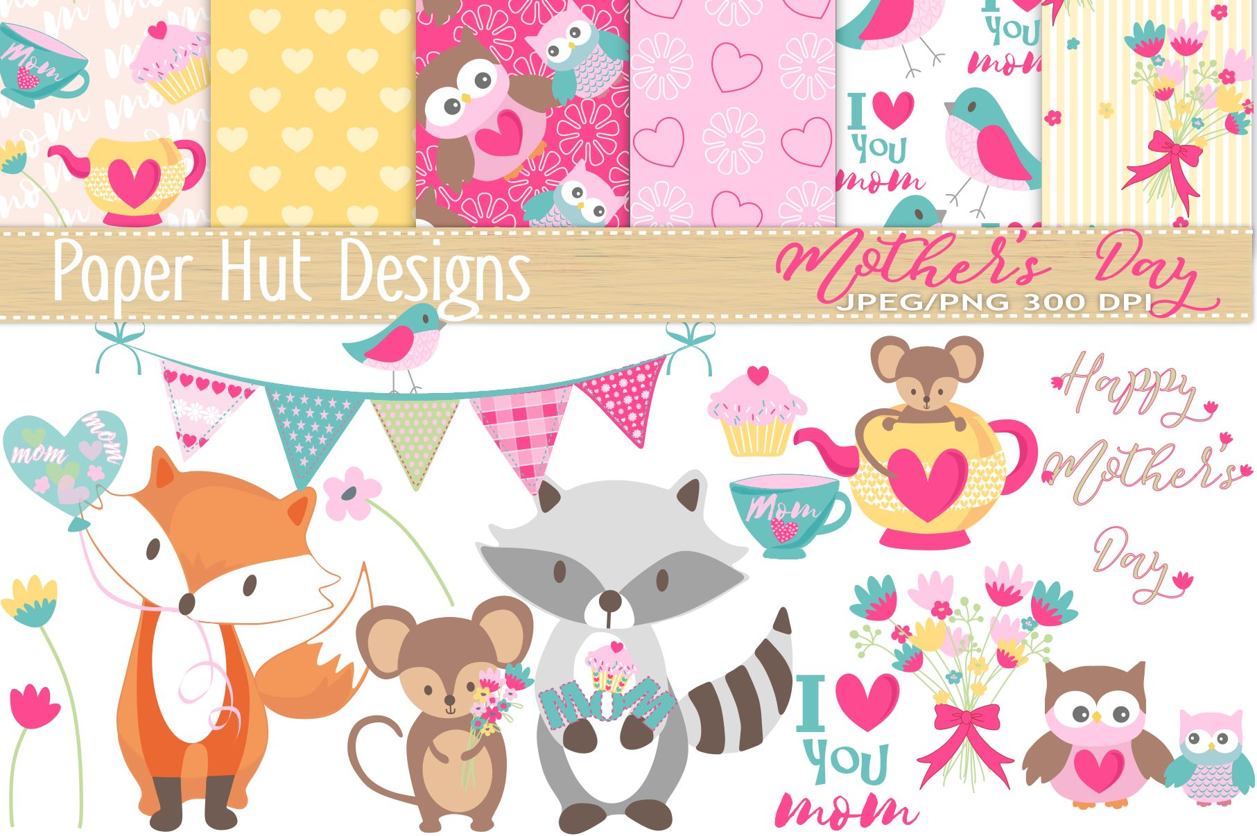 Mother's Day Cute Animal Clipart and Digital Papers Set example image 1