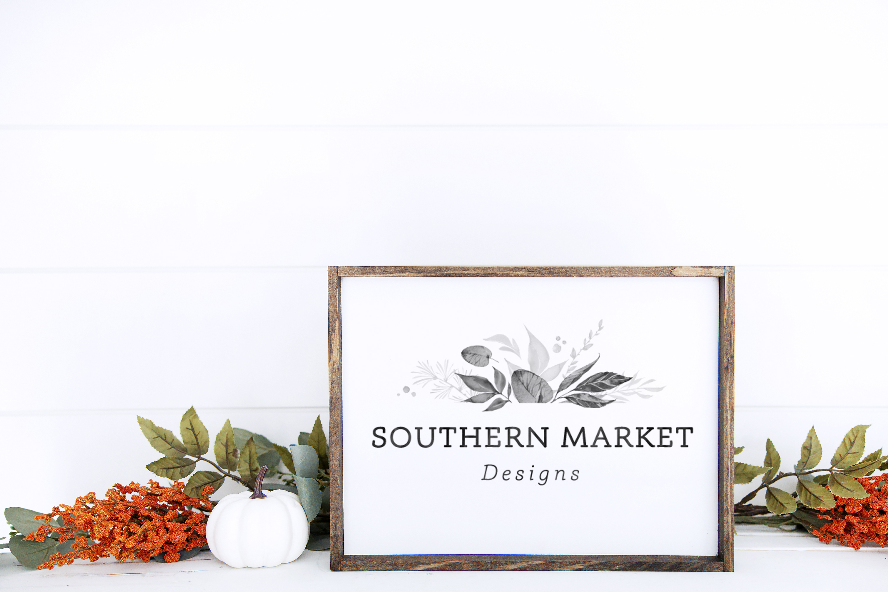 Fall Stained 9x12 Wood Sign Mock Up Stock Photo example image 1