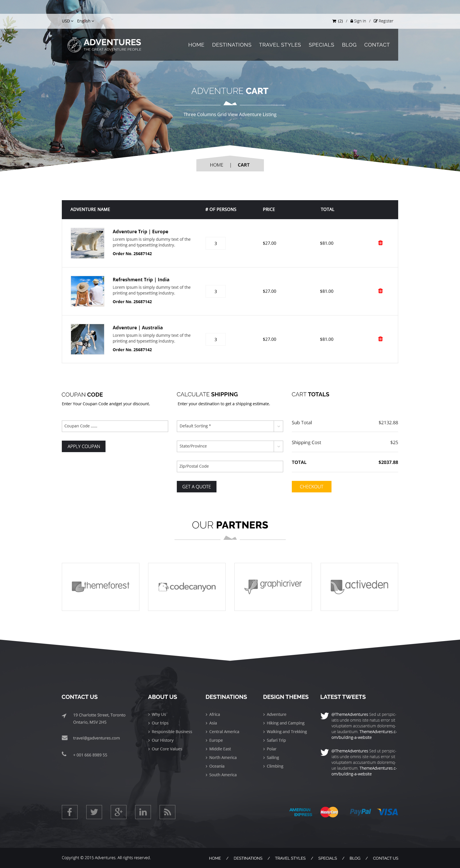 Adventures and Tour PSD Template example image 14