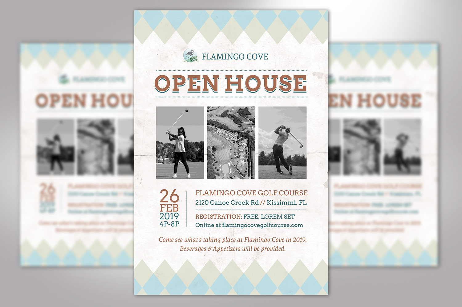 Retro Golf Open House Flyer Word example image 2