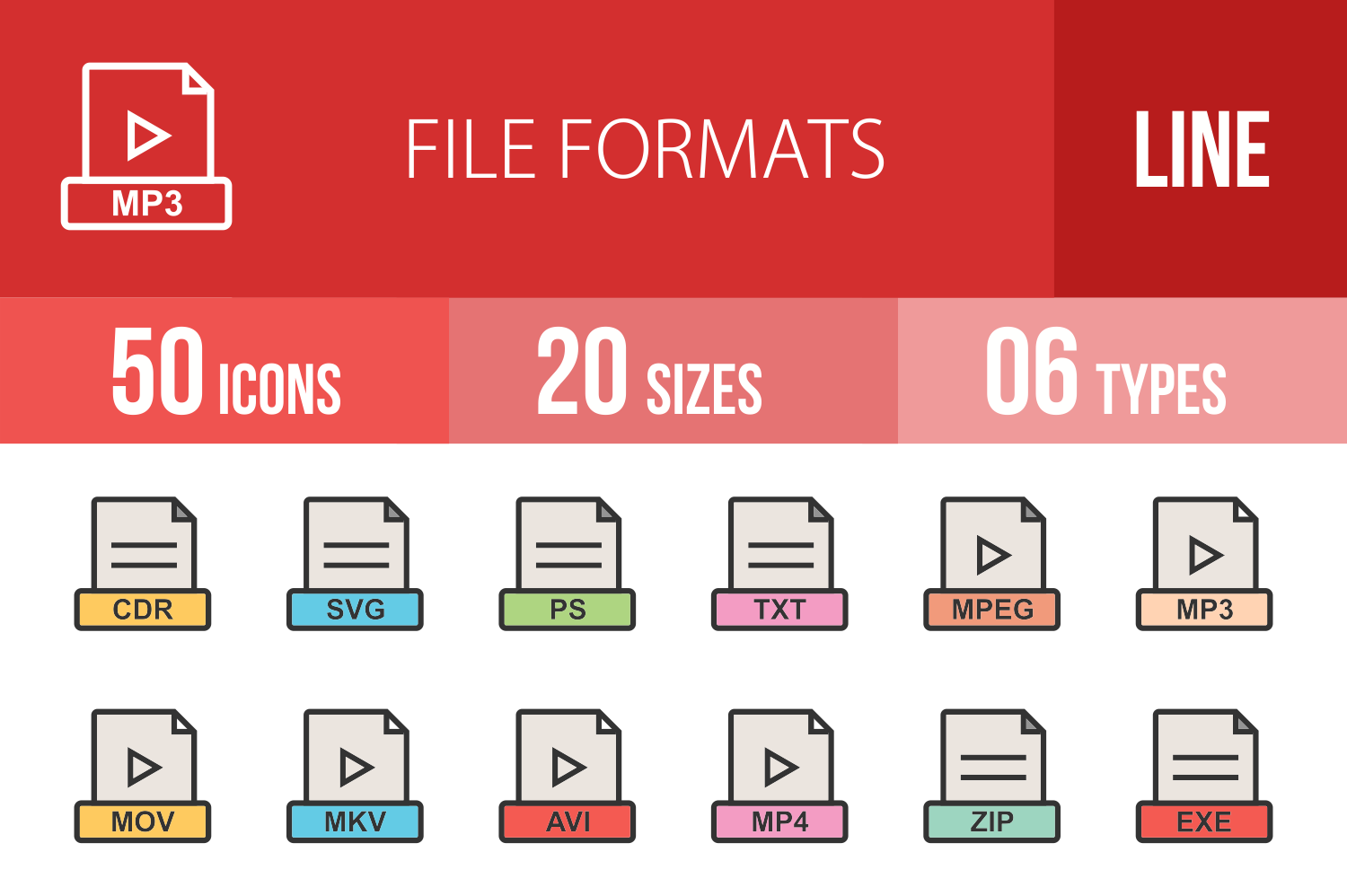 50 File Formats Linear Multicolor Icons example image 1