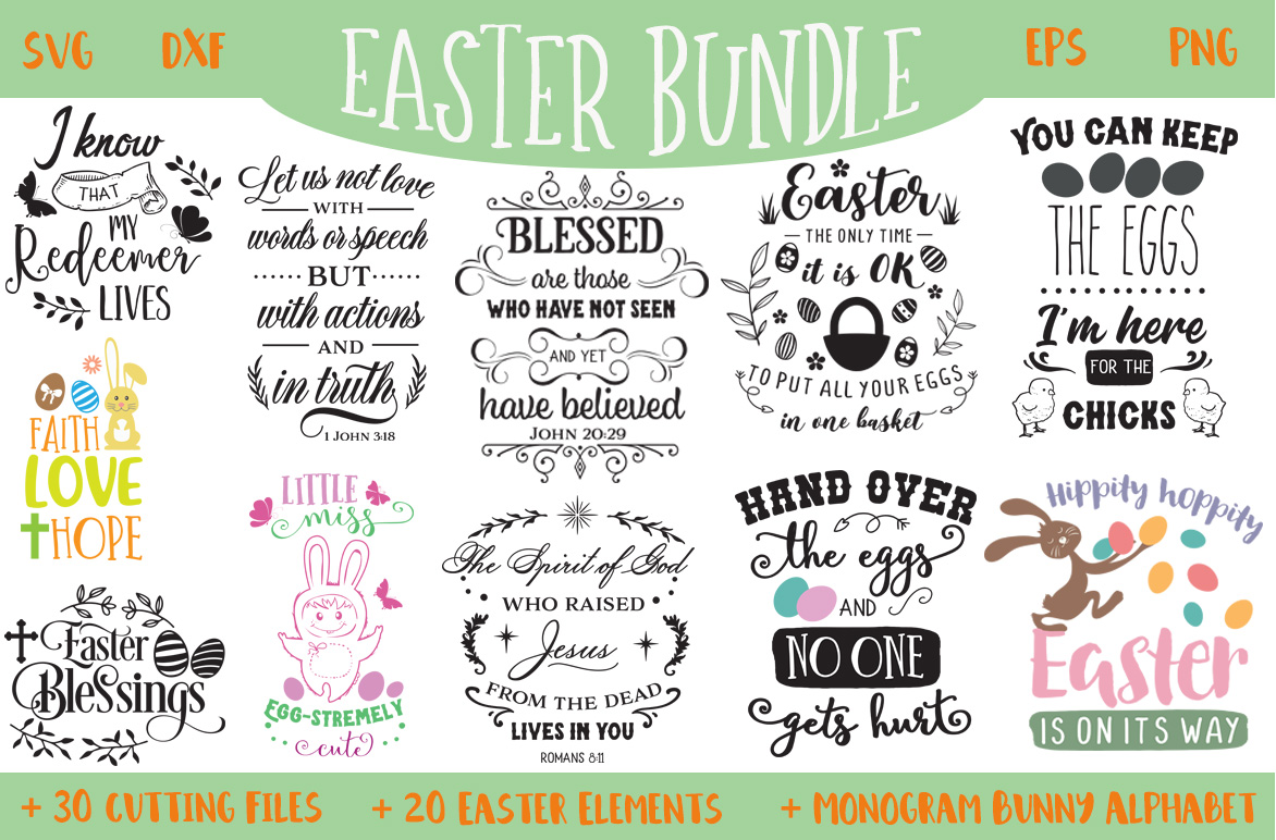 The Easter Bundle - 30 Cutting Files and Extras! example image 1