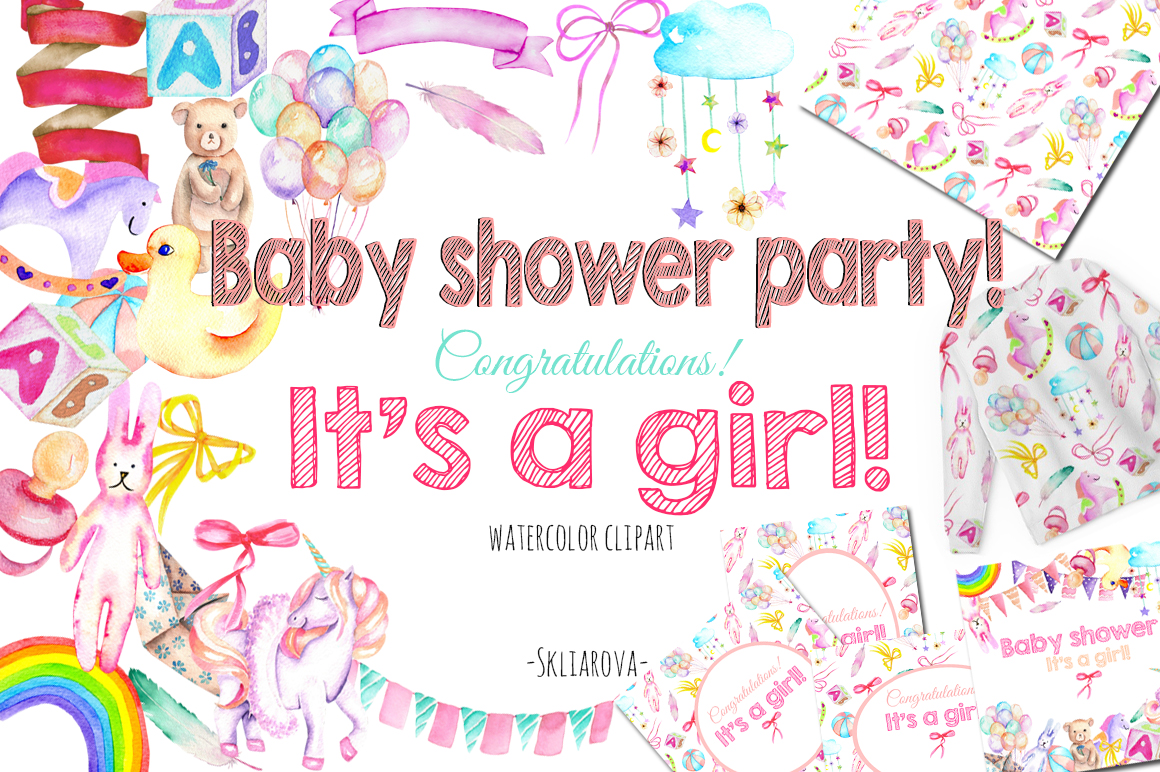 It's a Girl! watercolor clipart example image 1