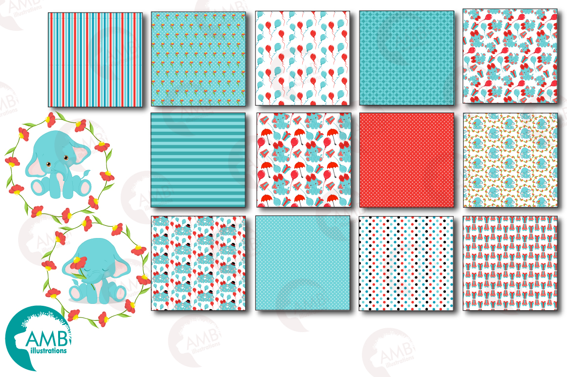 BABY ELEPHANT BUNDLE! 53 cliparts, graphics and illustrations and Patterns AMB-2273 example image 2