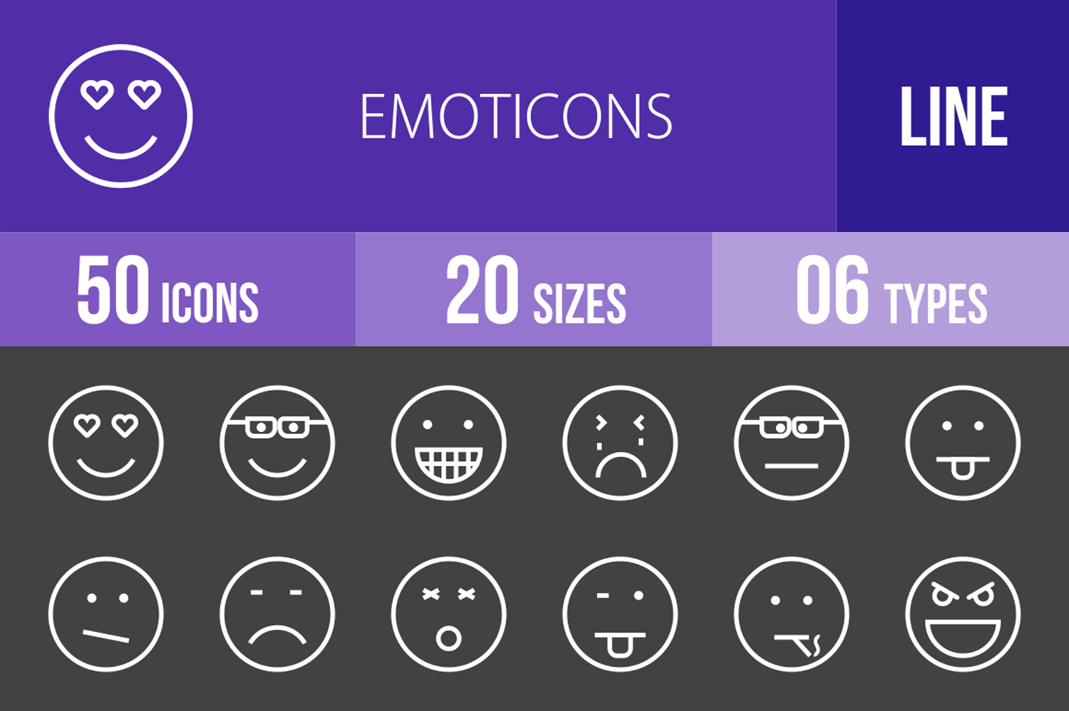 50 Emoticons Line Inverted Icons example image 1