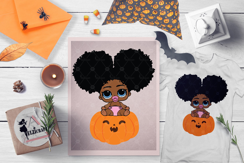 Halloween Afro Peeking Baby Girl Pumpkin Smile SVG File example image 1