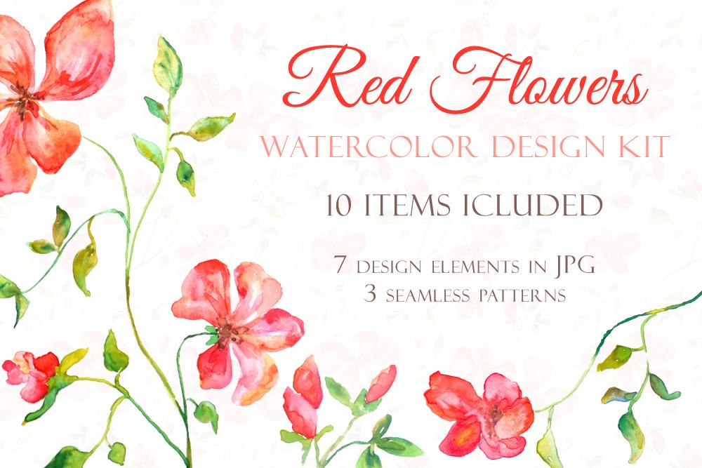 Red Blooming Flowers - Handmade watercolor design kit  example image 1