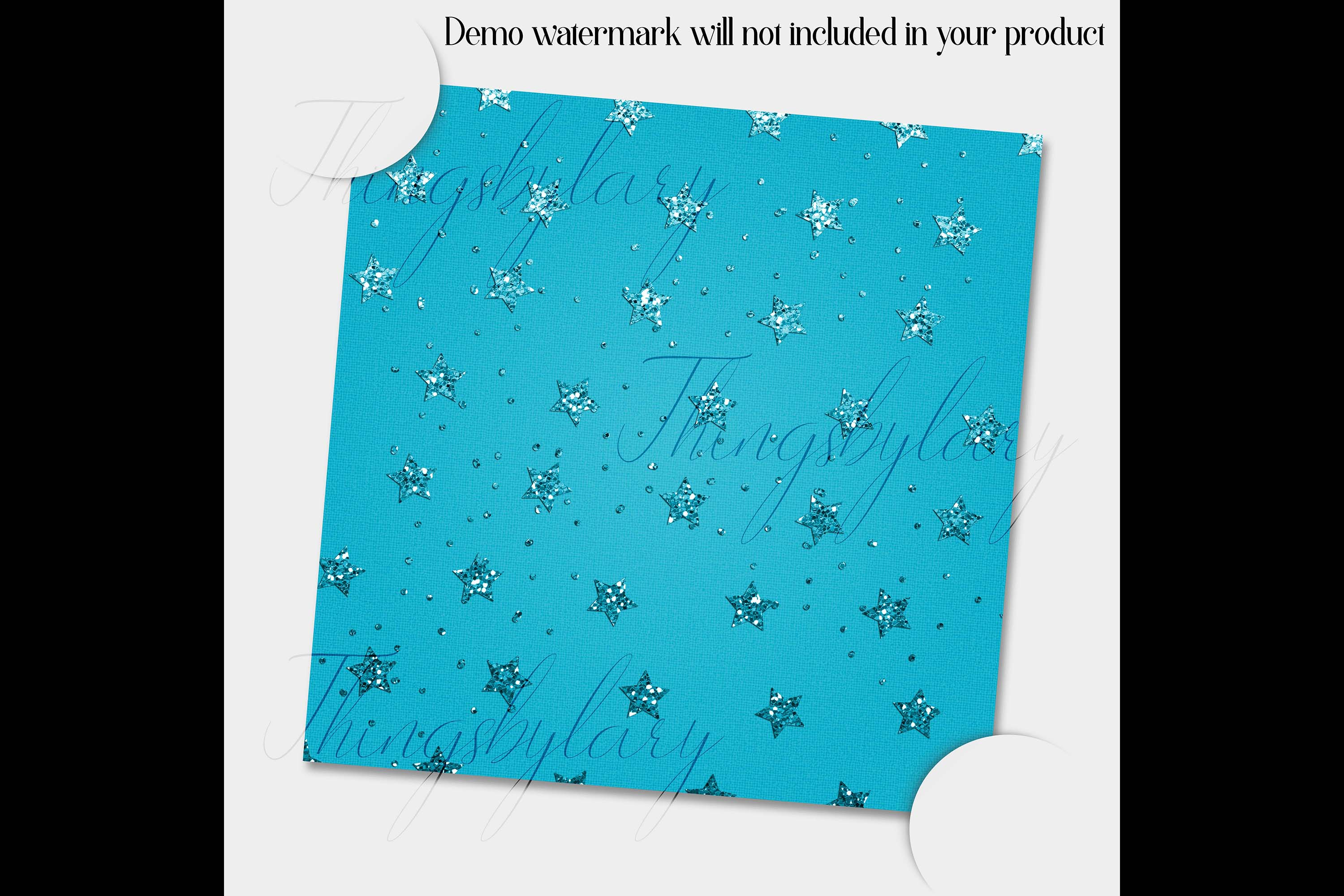 16 Blue Glitter Christmas Printable Digital Papers 12 inch example image 3