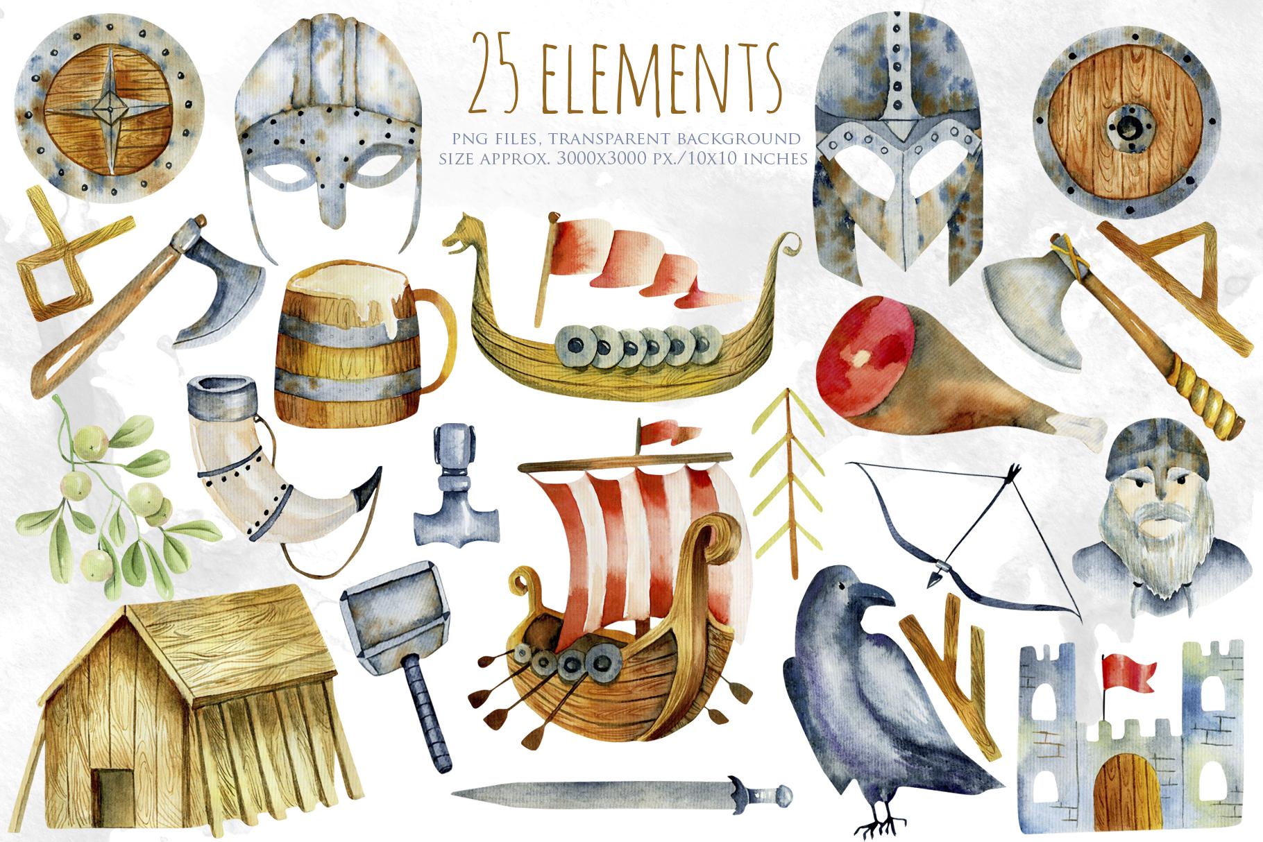 Vikings. Watercolor clip art. example image 2