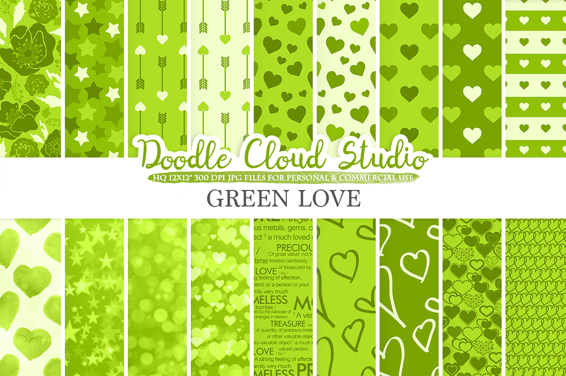 Green Romantic digital paper, Valentine's day patterns  Love Roses Romance Heart Bokeh background Instant Download Personal & Commercial Use example image 1