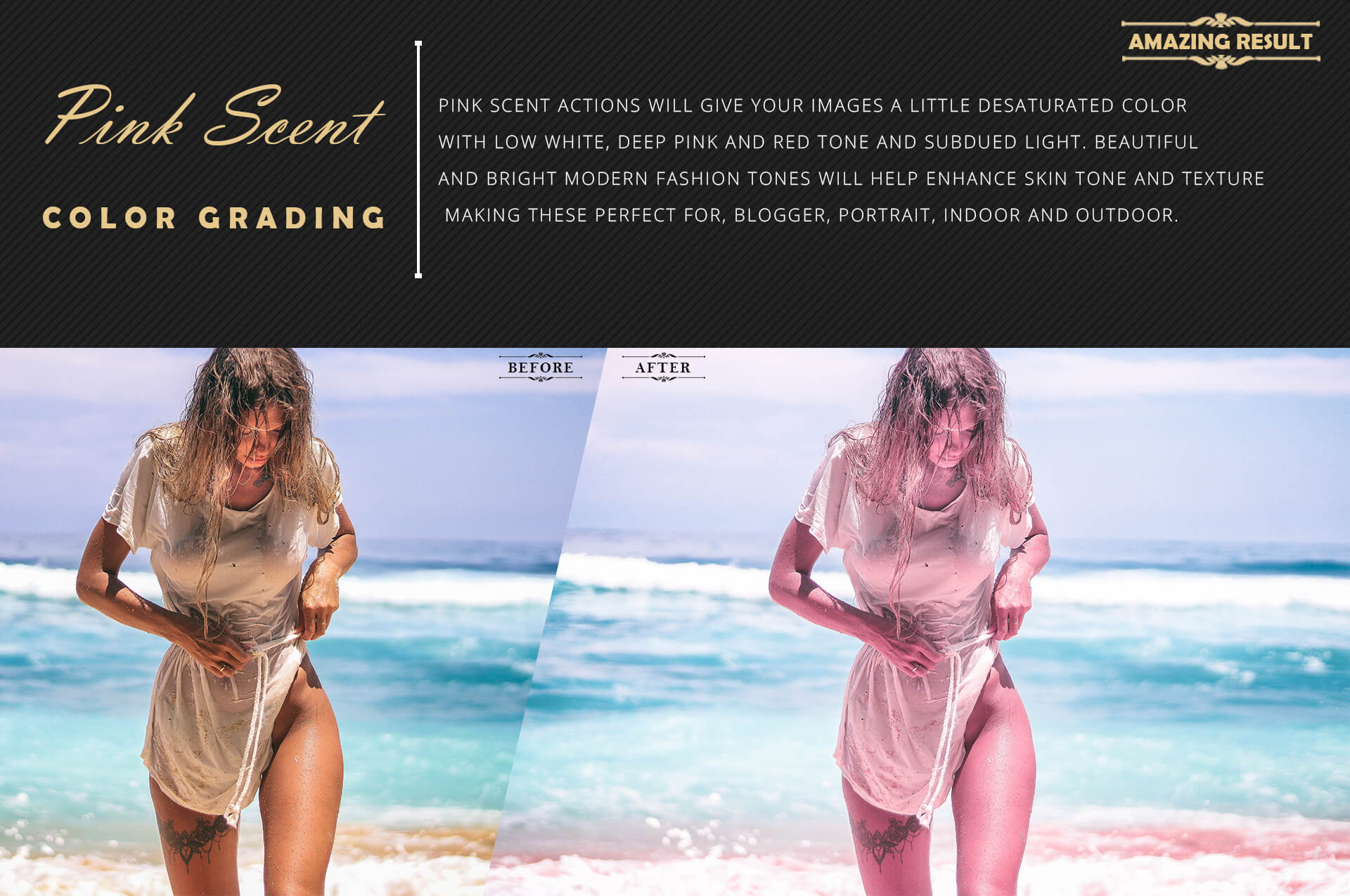 Neo Pink Scent Color Grading photoshop actions example image 4