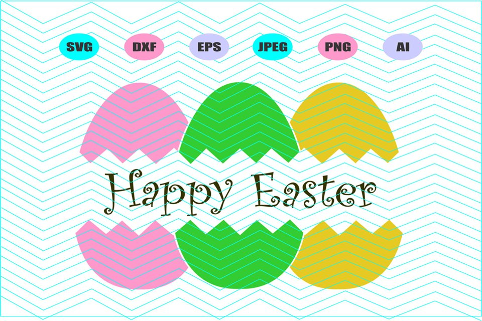 Split Easter Eggs Svg Vector File Silhouette Cricut Design example image 1