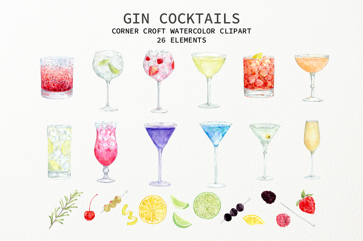 Watercolor Gin Cocktail Illustration and Prints example image 2