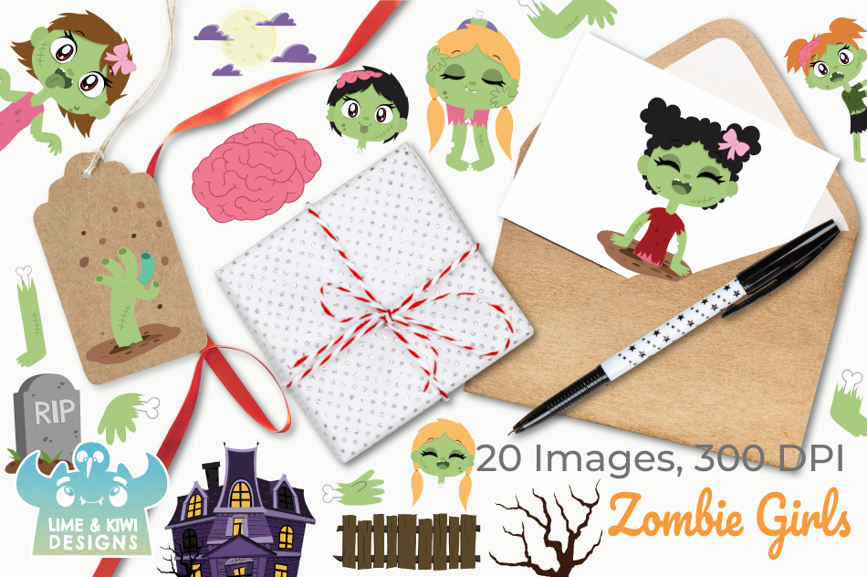 Zombie Girls Clipart, Instant Download Vector Art example image 3