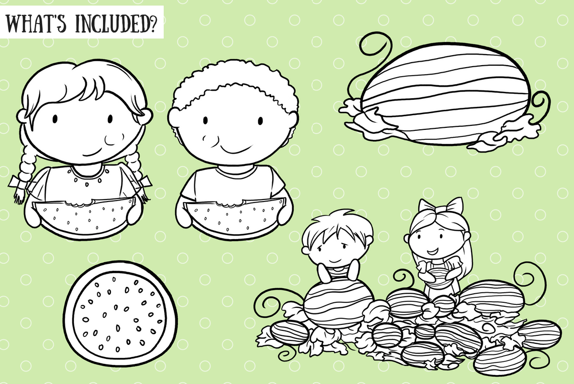 Watermelon Patch Digital Stamps example image 2
