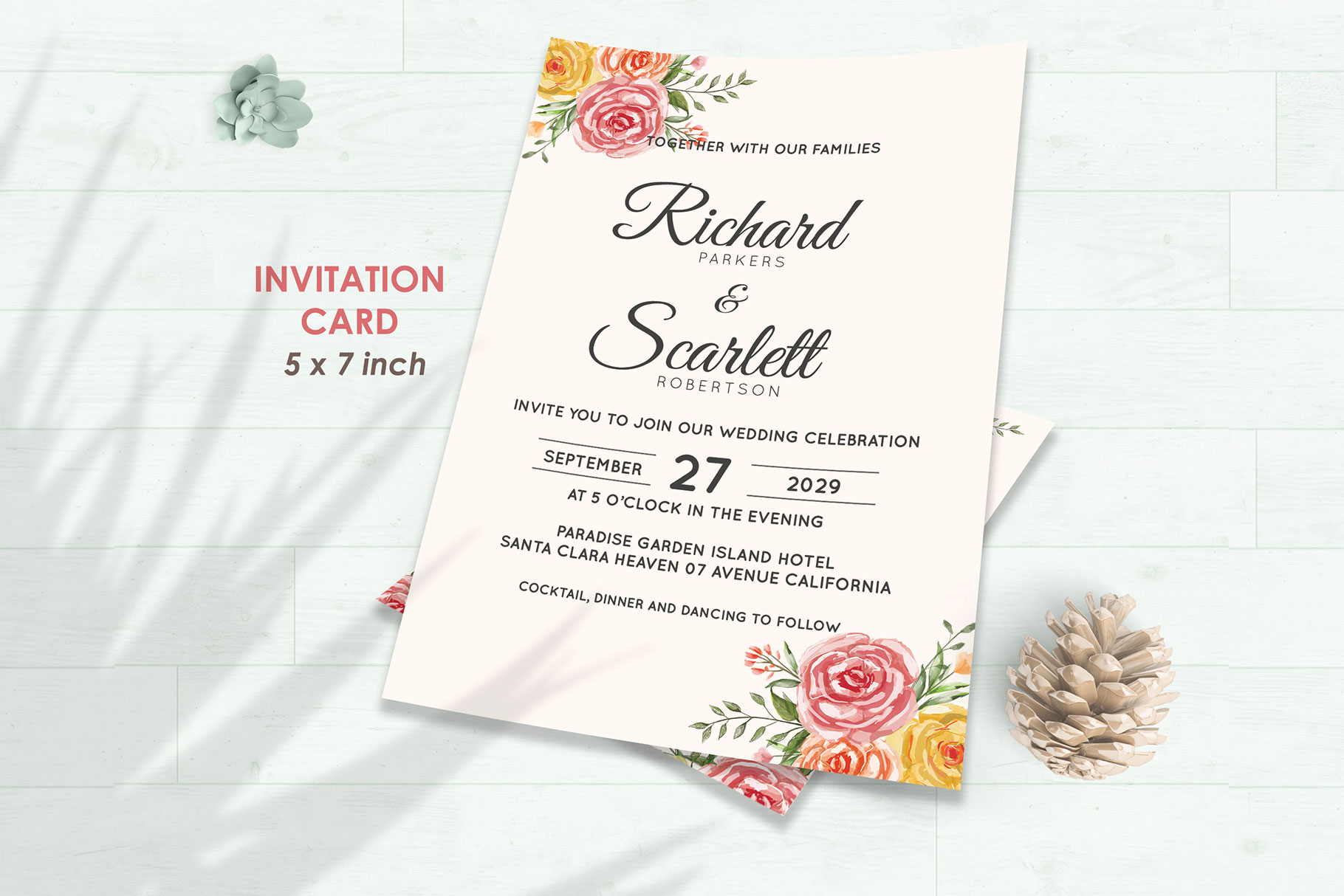 Wedding Invitation Set #3 Watercolor Floral Flower Style example image 2