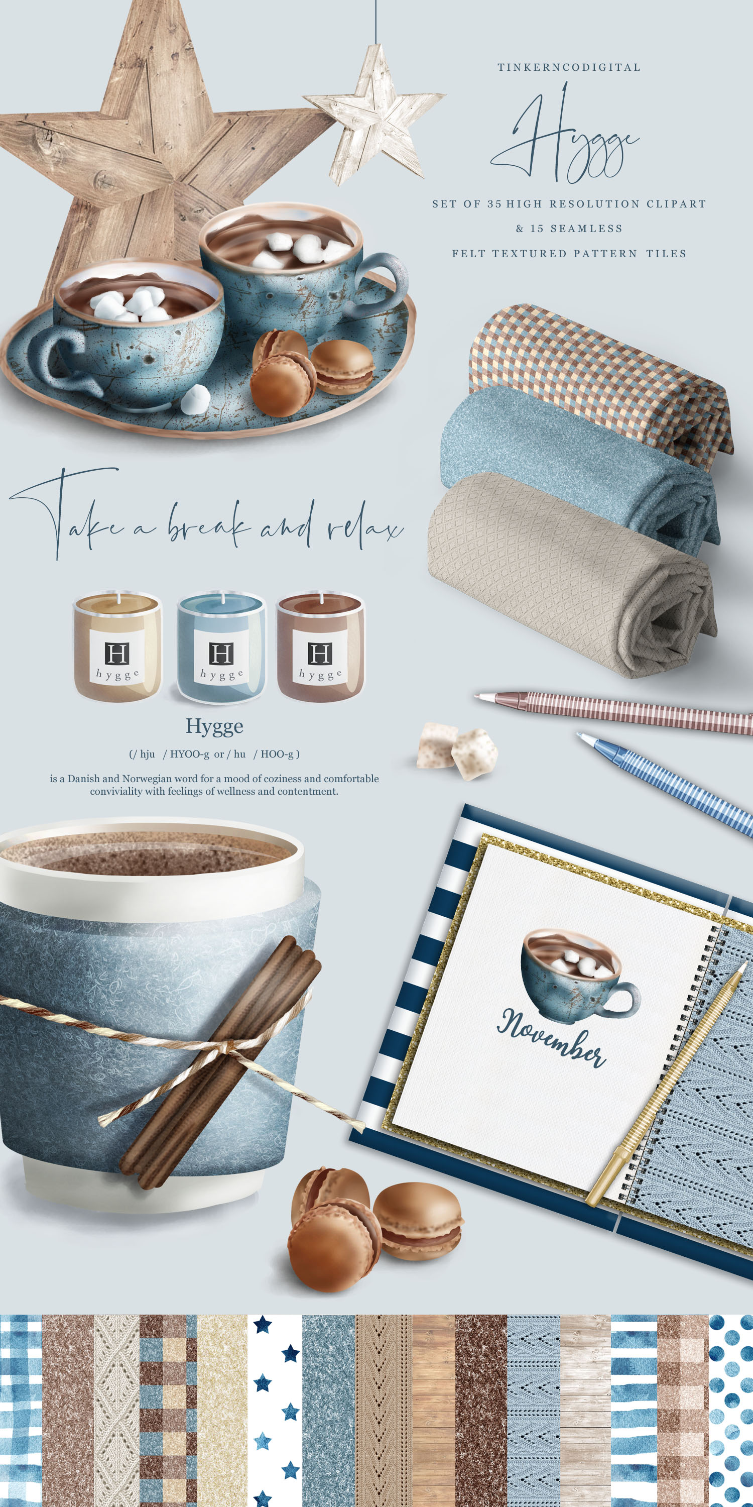 Hygge Clipart and Seamless Pattern Paper Sublimation designs example image 5