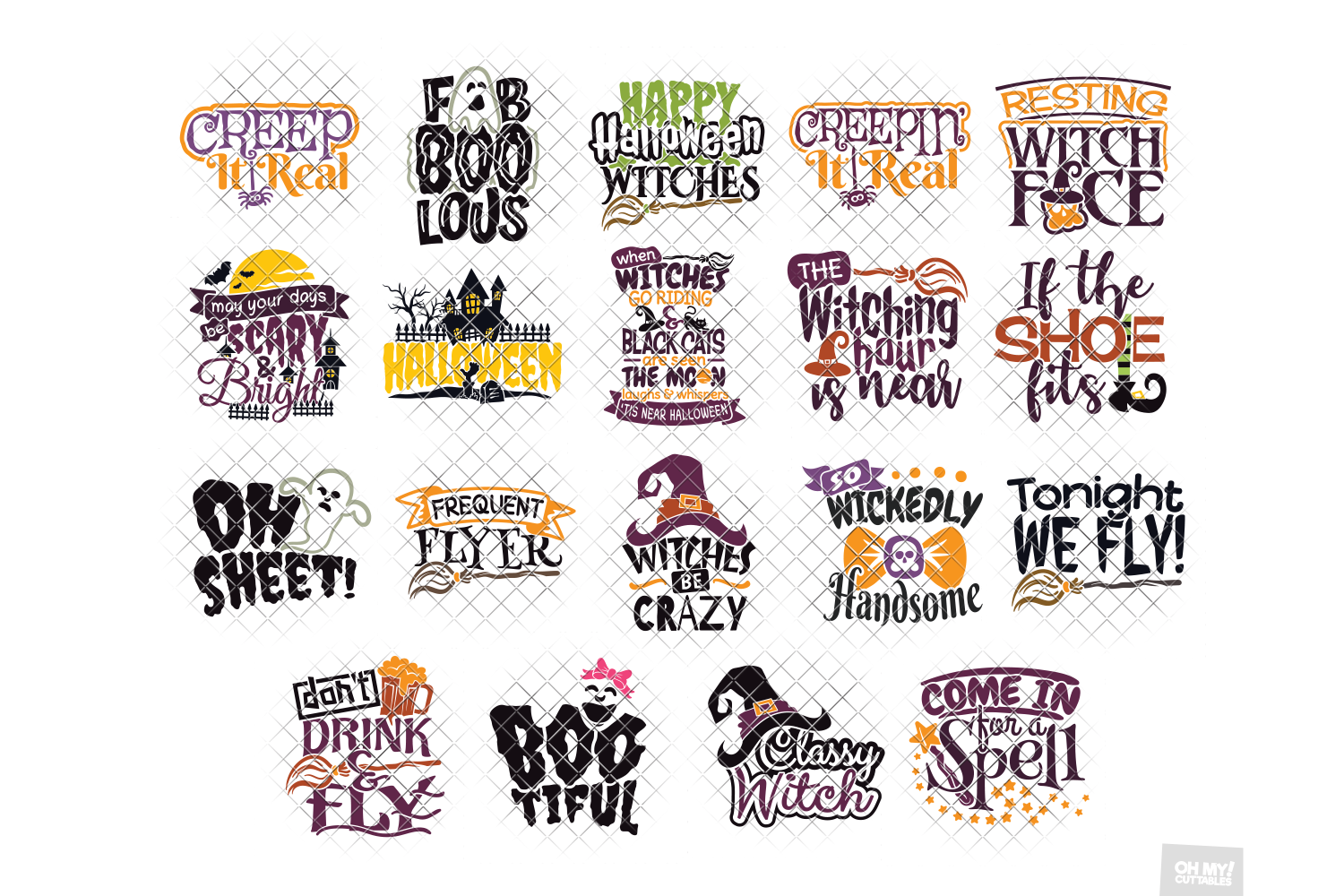 Halloween SVG Quotes & Phrases Bundle in SVG, DXF, PNG, EPS example image 3
