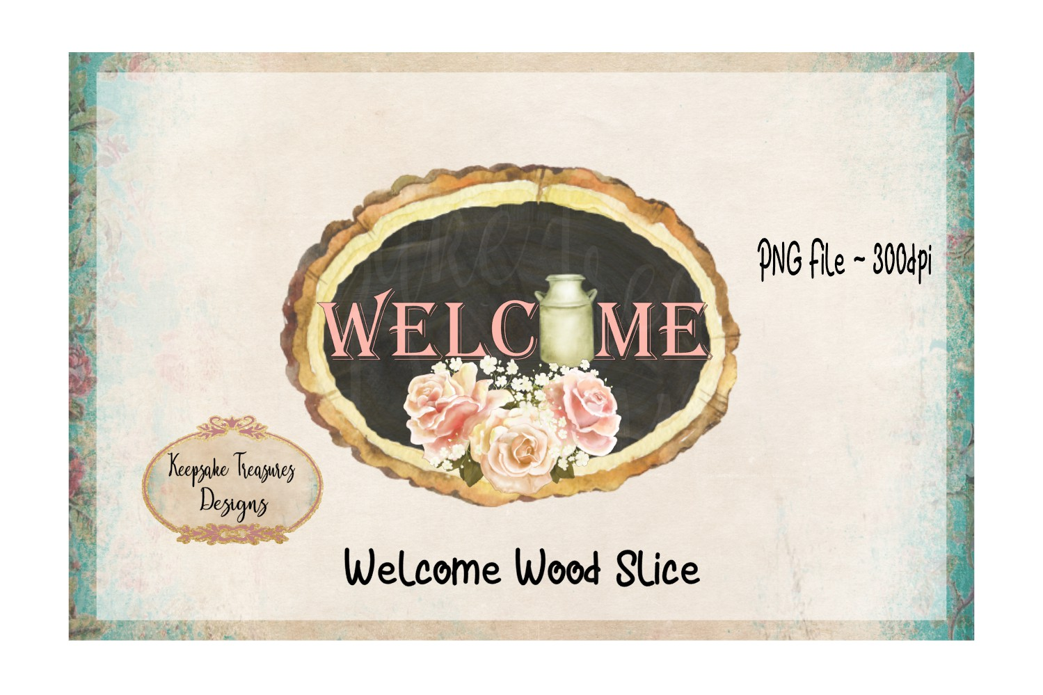 Welcome Wood Slice Sublimation PNG example image 1