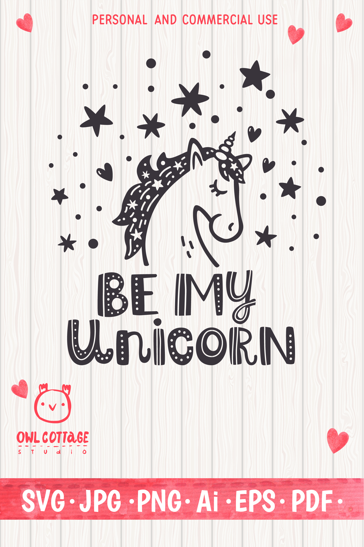 Valentine Unicorn Svg, Be My Unicorn Cut File, Valentines Da example image 16