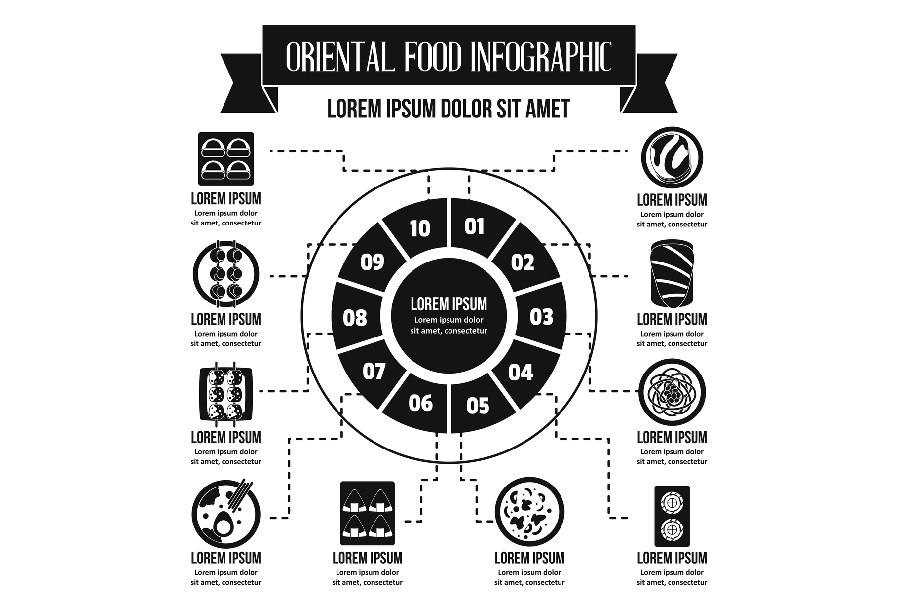 Oriental food infographic concept, simple style example image 1