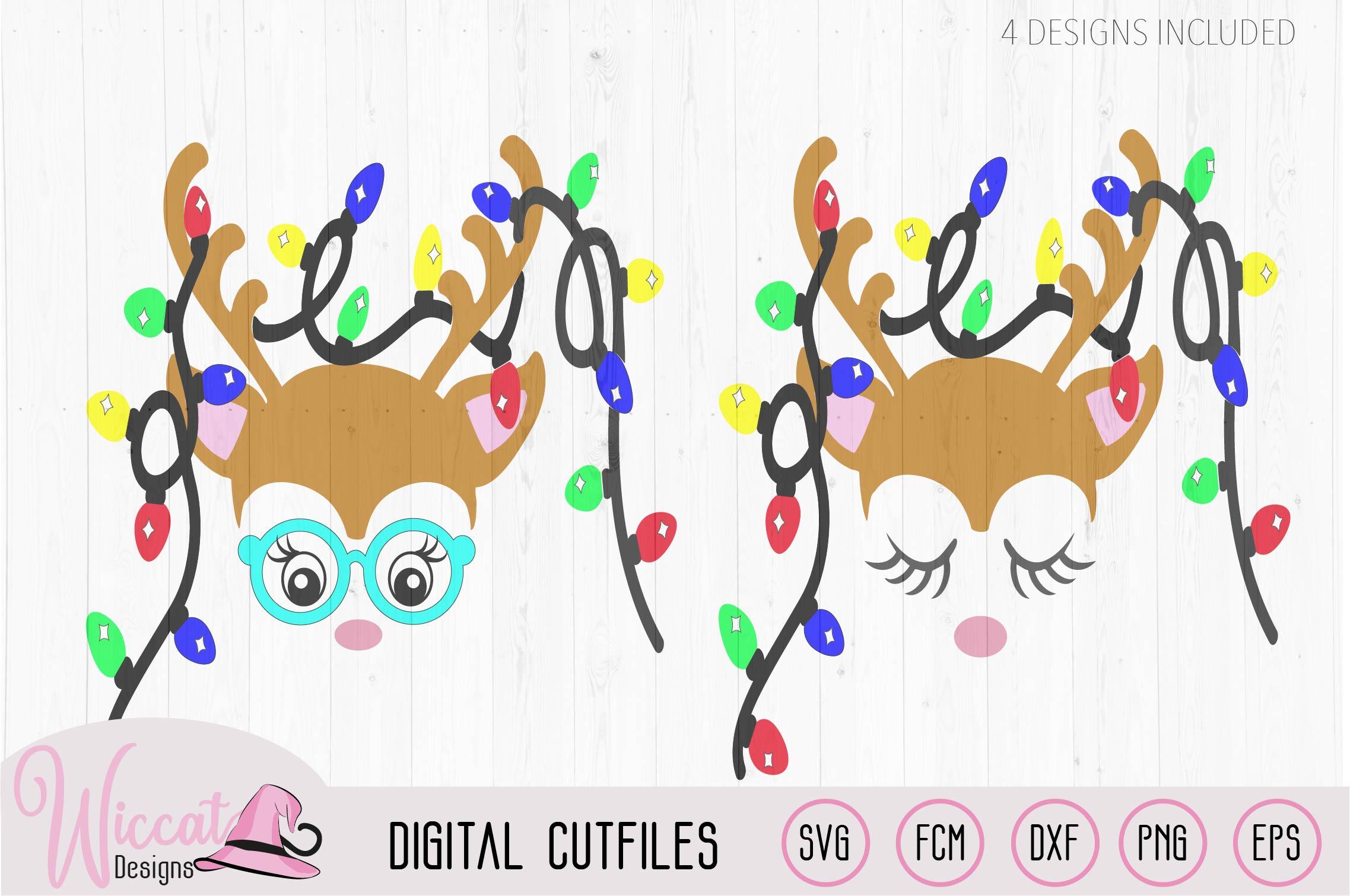 Hipster Reindeer with Christmas lights svg, Baby deer, kids example image 2