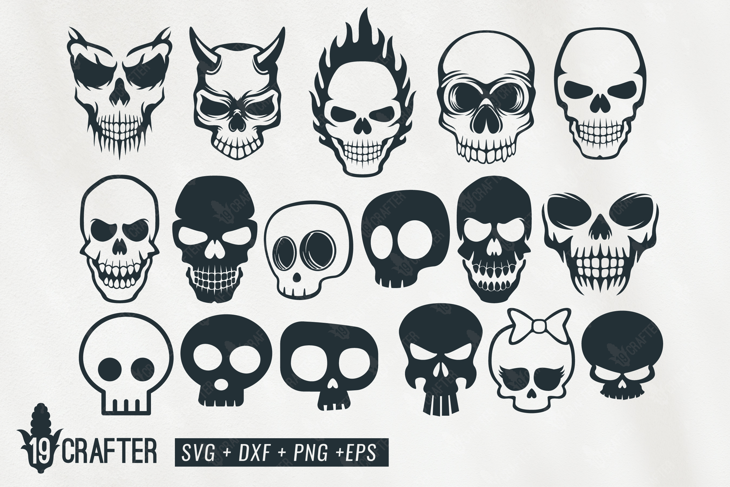 cute and spooky skull svg bundle example image 1