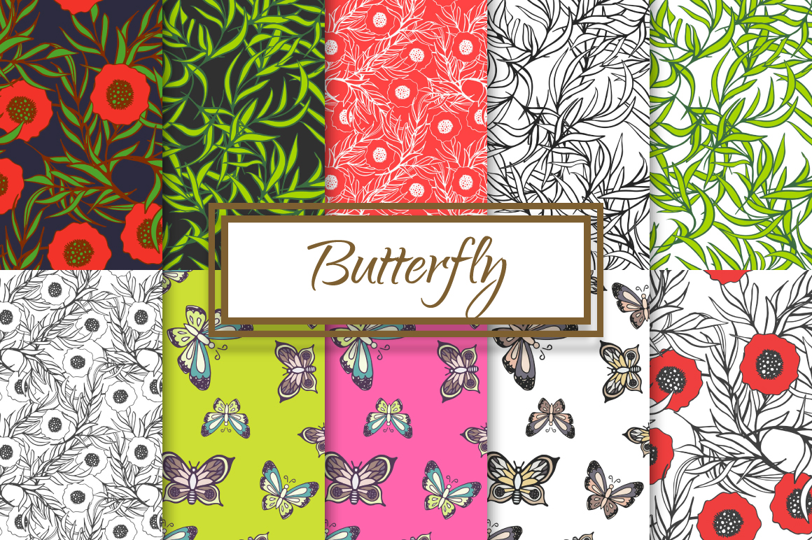 Hand drawn Butterflies and Poppies example image 1