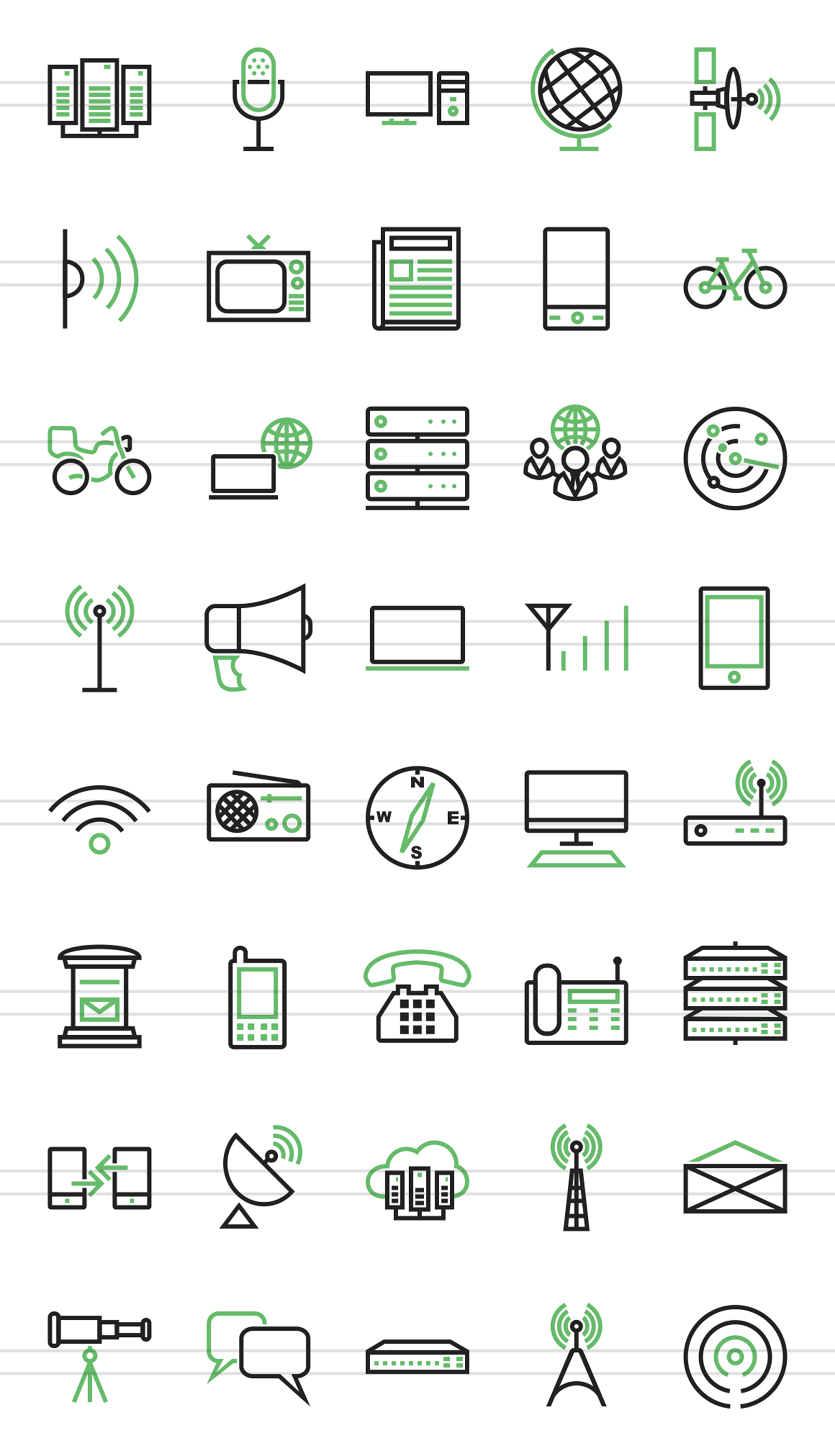 40 Communication Line Green & Black Icons example image 2