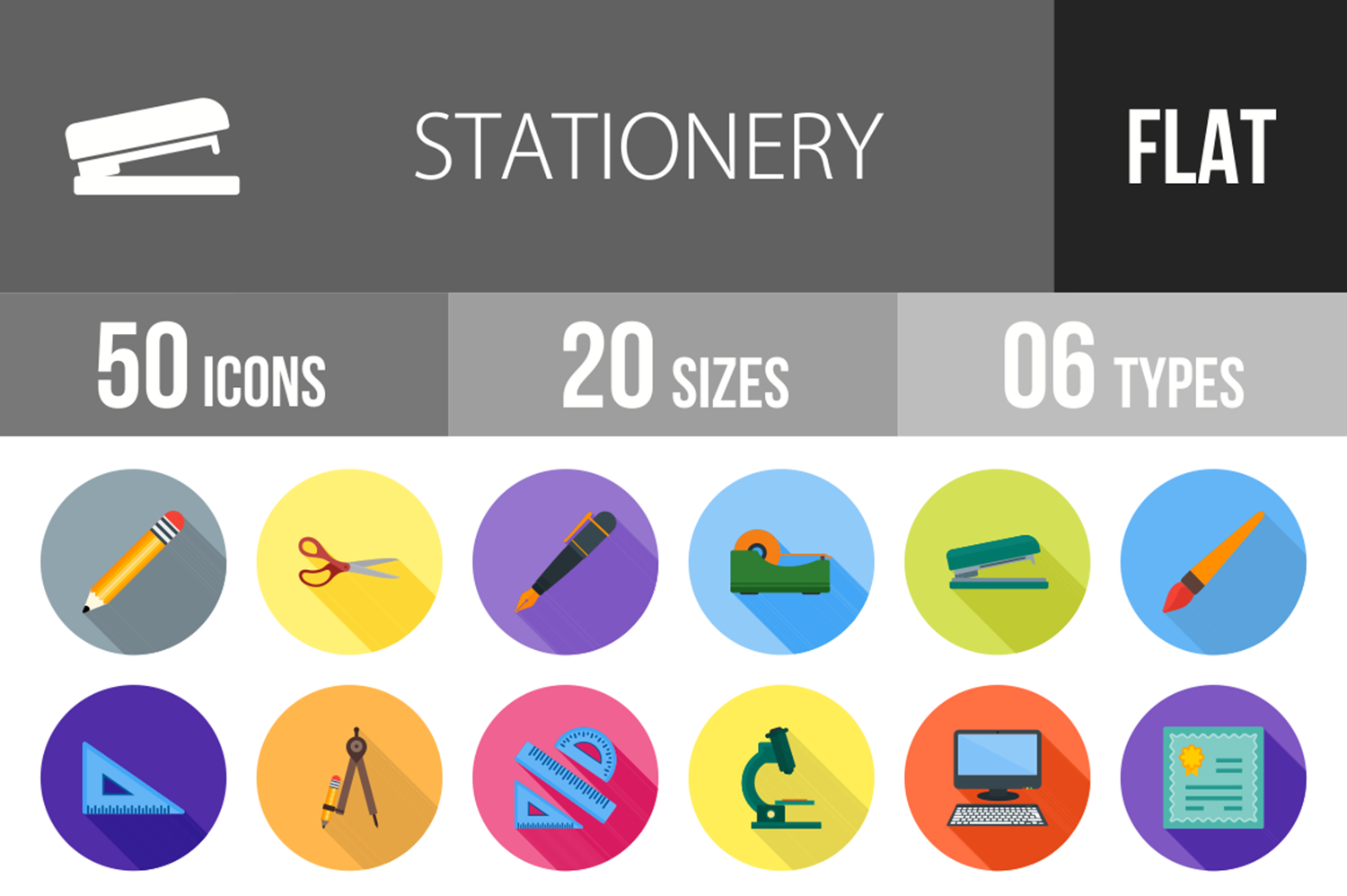 50 Stationery Flat Long Shadow Icons example image 1