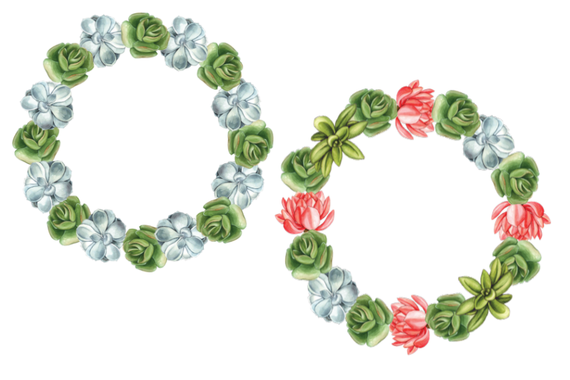 Watercolor Succulents Cliparts, Floral Wreath Wedding example image 4