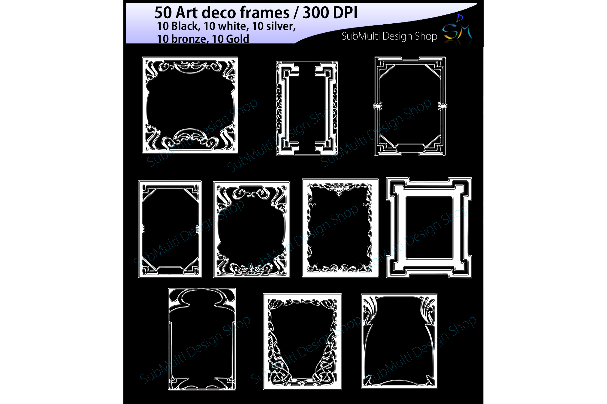 art deco frames / art deco frames clipart / art deco frames silhouette / art deco gold frames / art deco silver frame / High Quality example image 4