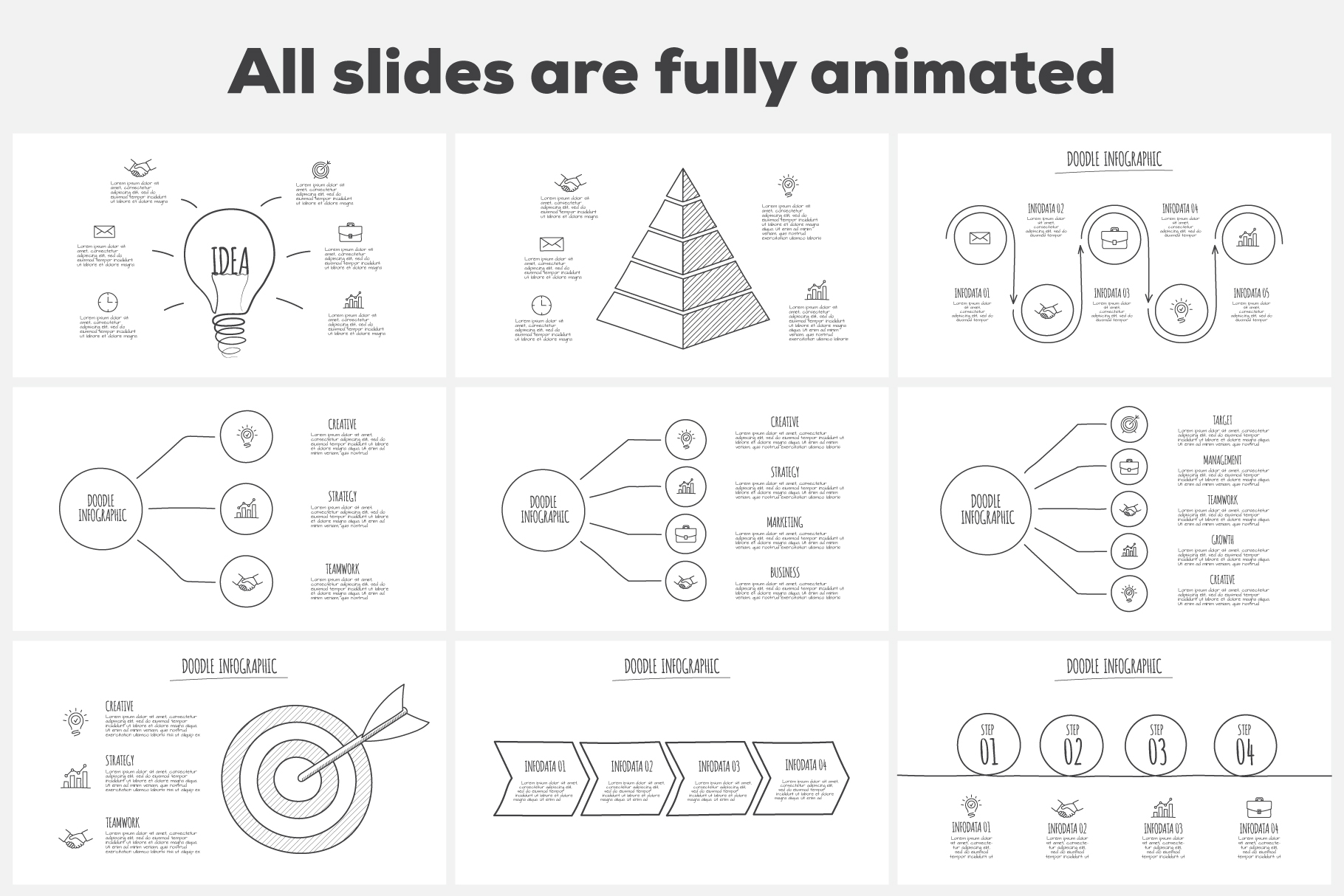 Doodle infographics presentation example image 3