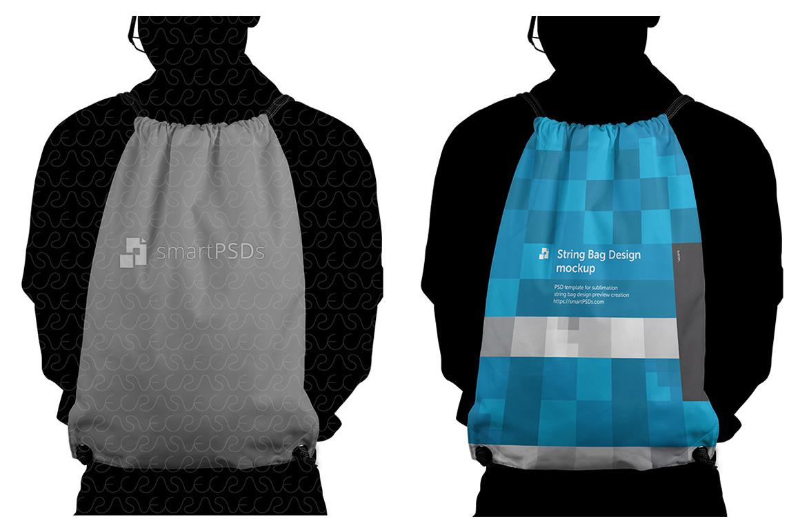 String Bag Sublimation Design Mockup - 4 Views example image 4