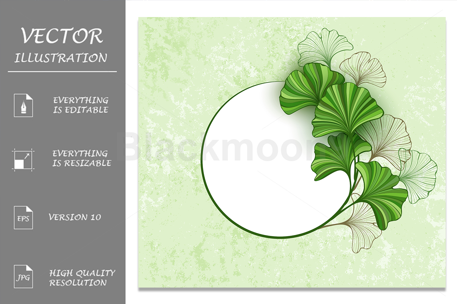 Round Banner with Leaves of Ginkgo Biloba example image 1